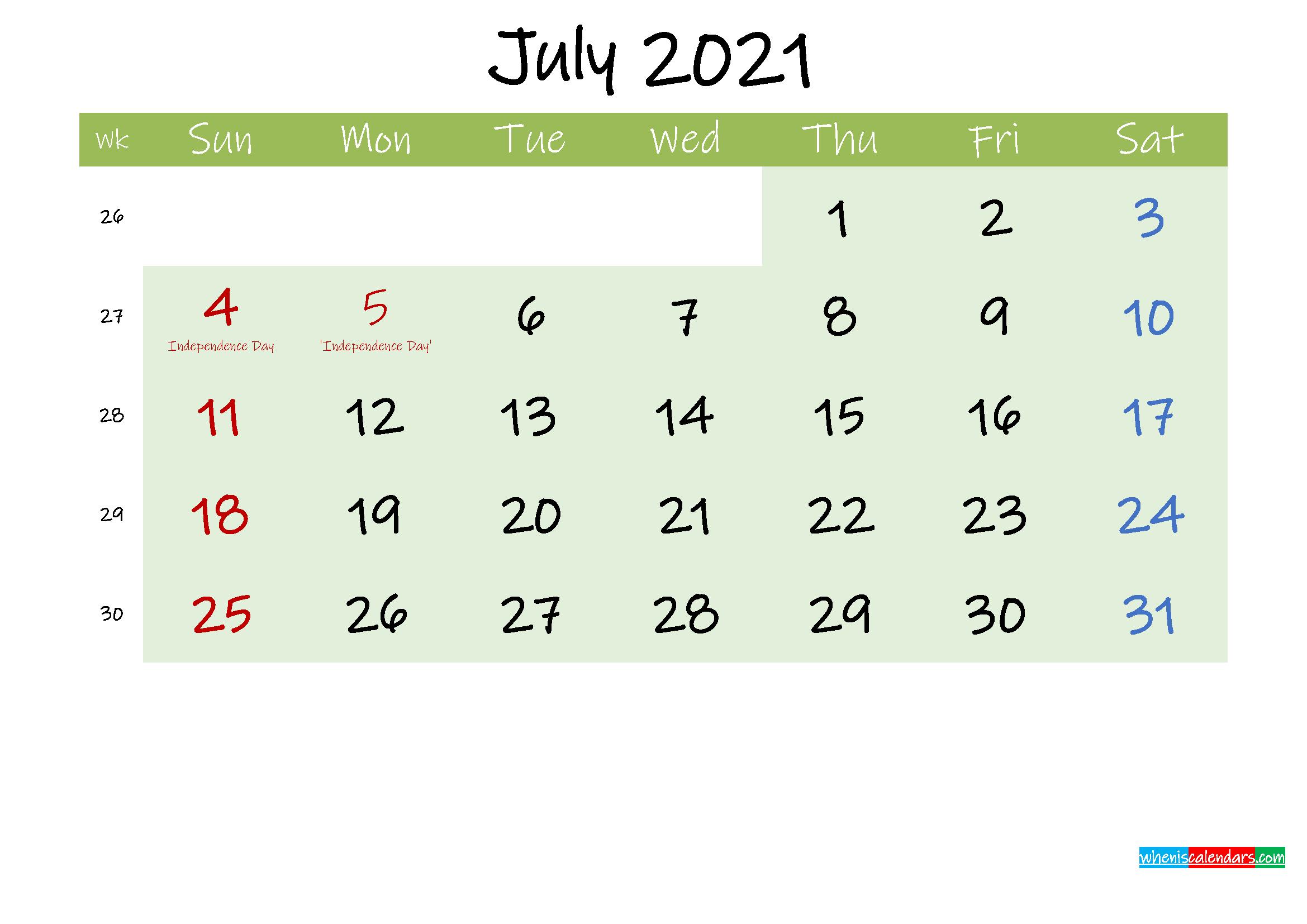 July 2021 Calendar with Holidays Printable