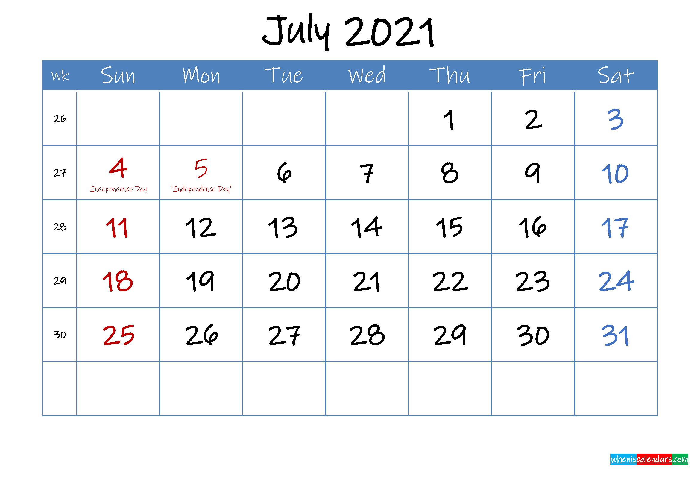 Printable July 2021 Calendar Word