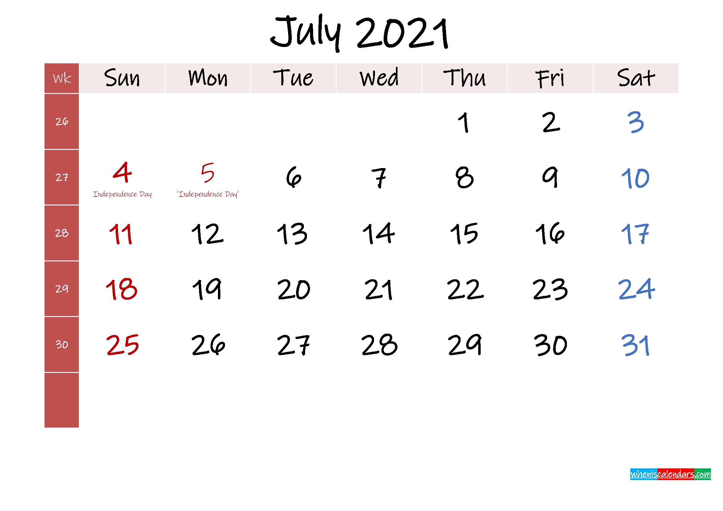 July 2021 Free Printable Calendar
