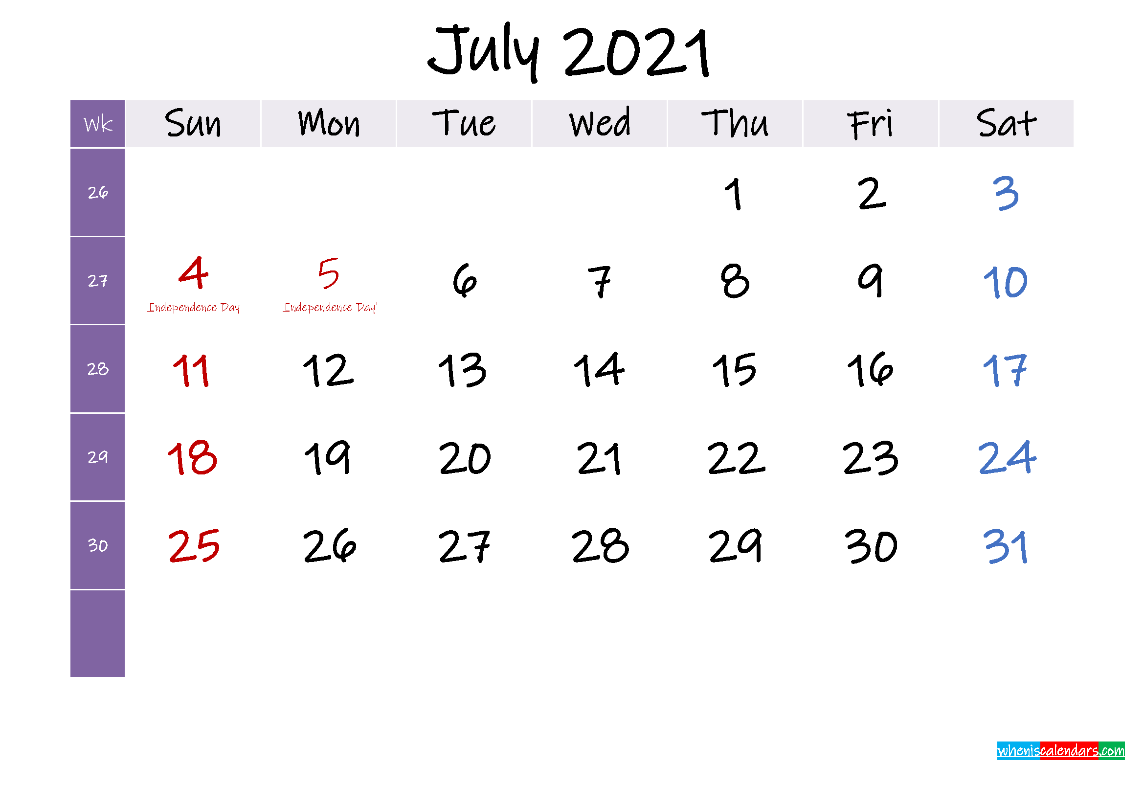 July 2021 Free Printable Calendar with Holidays - Template ...