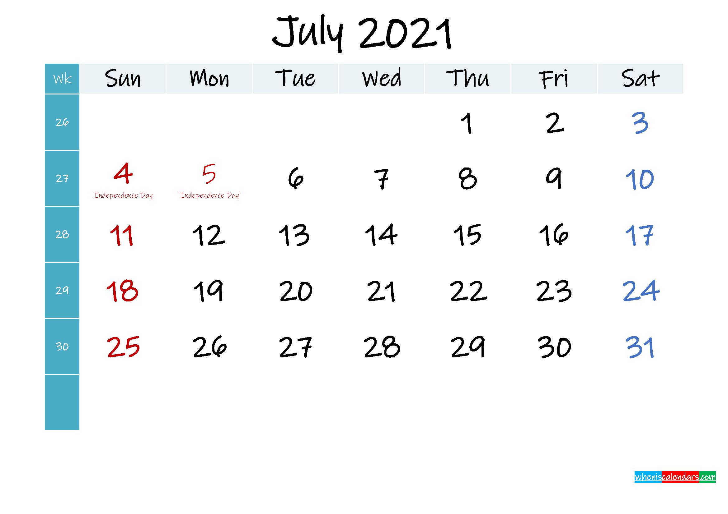 July 2021 Free Printable Calendar - Template No.ink21m403 ...
