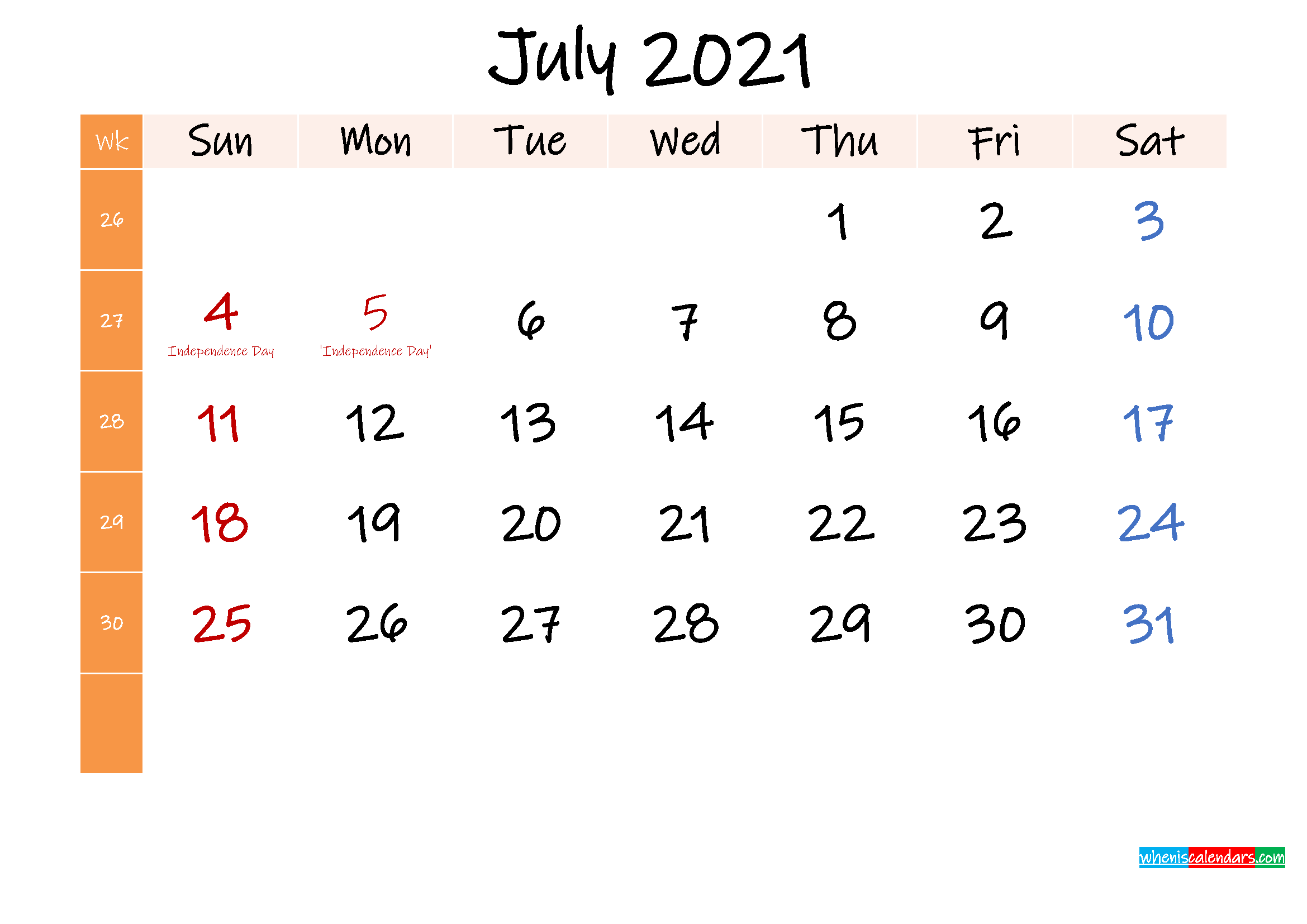 Free July 2021 Monthly Calendar Template Word