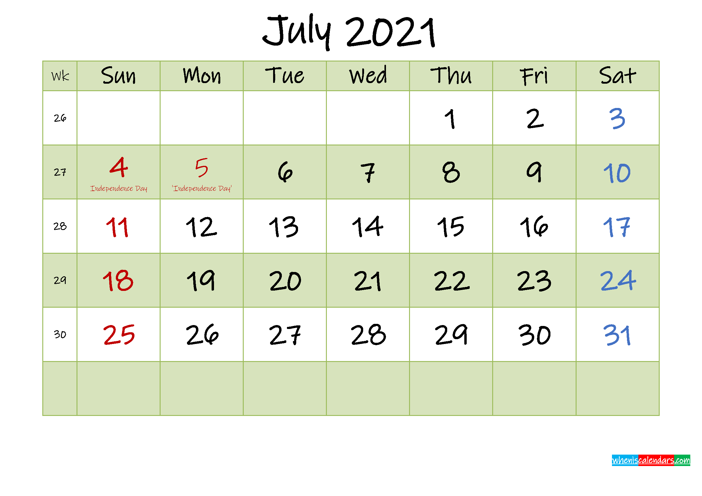 July 2021 Calendar with Holidays Printable