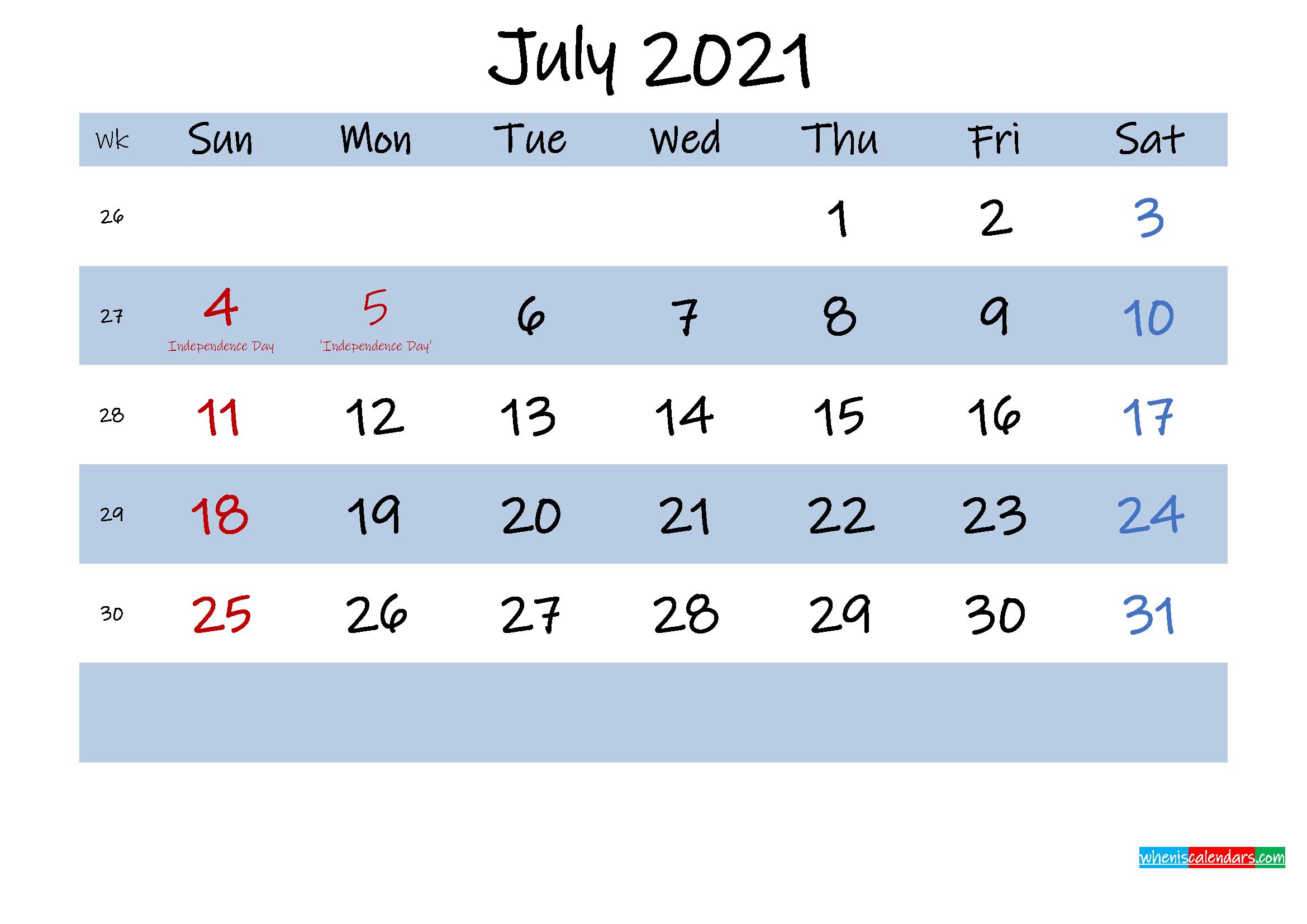 Printable July 2021 Calendar Word