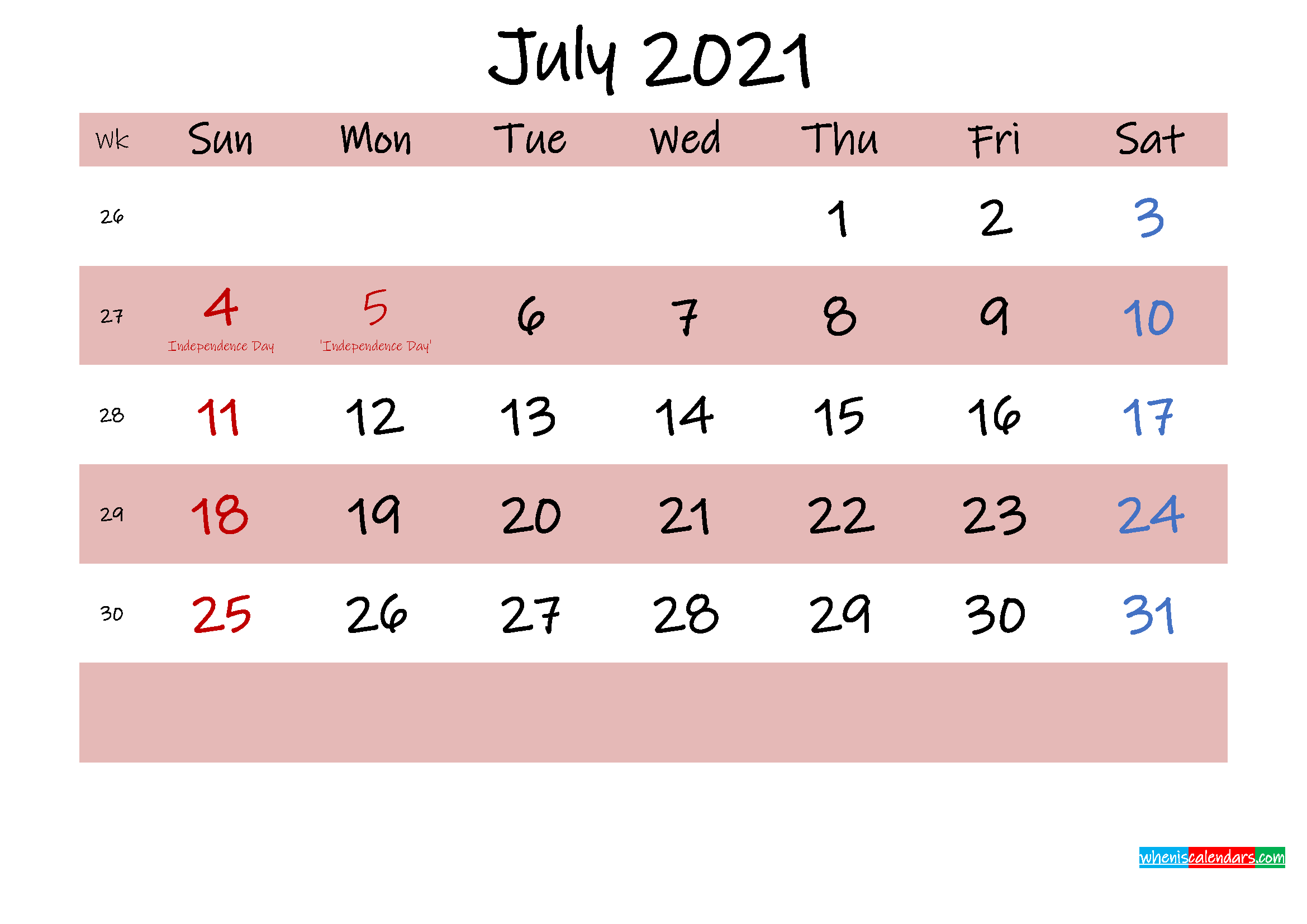 Printable July 2021 Calendar with Holidays