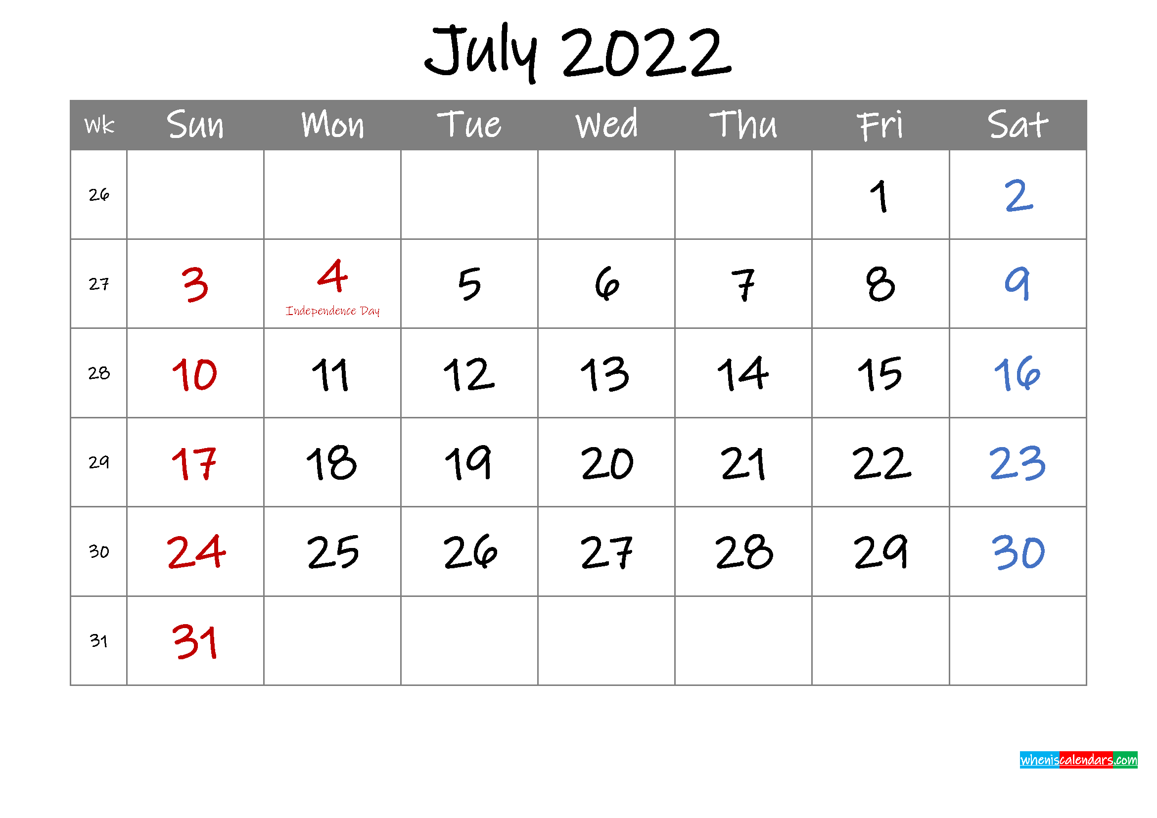 Editable July 2022 Calendar with Holidays