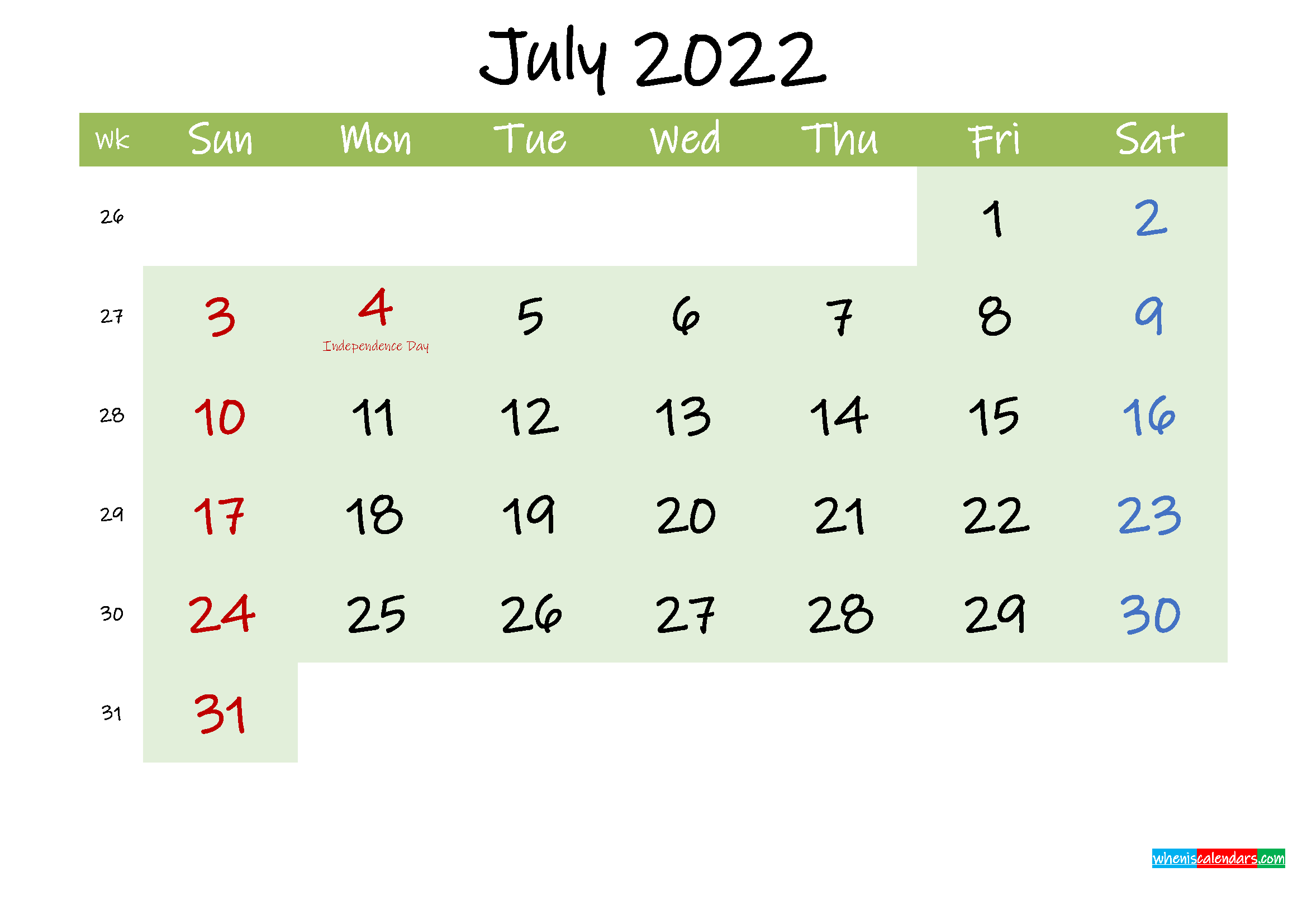 July 2022 Calendar with Holidays Printable