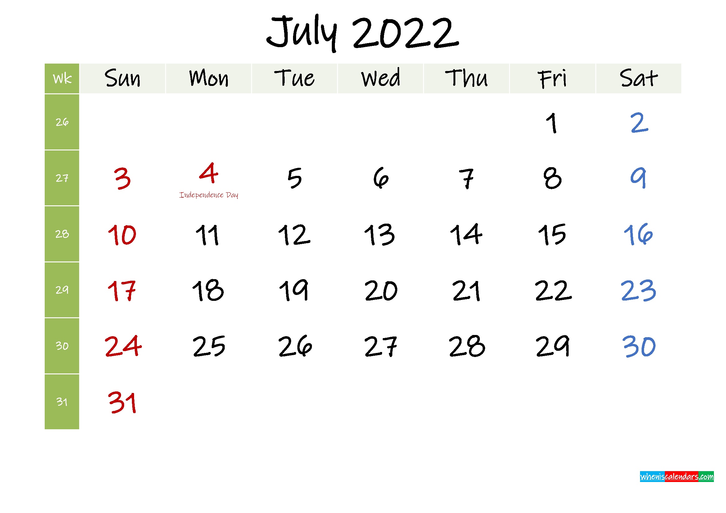 Free July 2022 Printable Calendar with Holidays