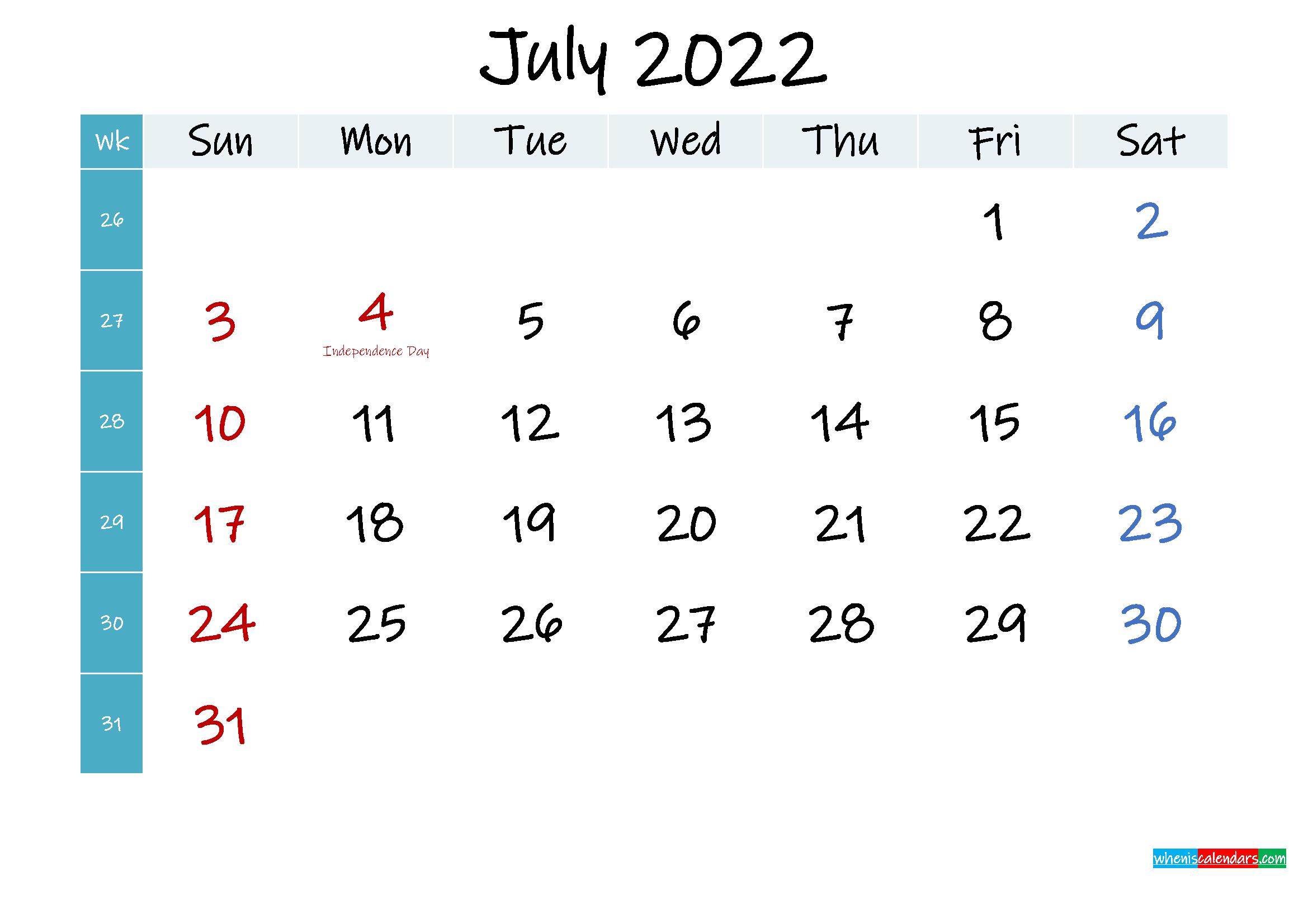 July 2022 Free Printable Calendar
