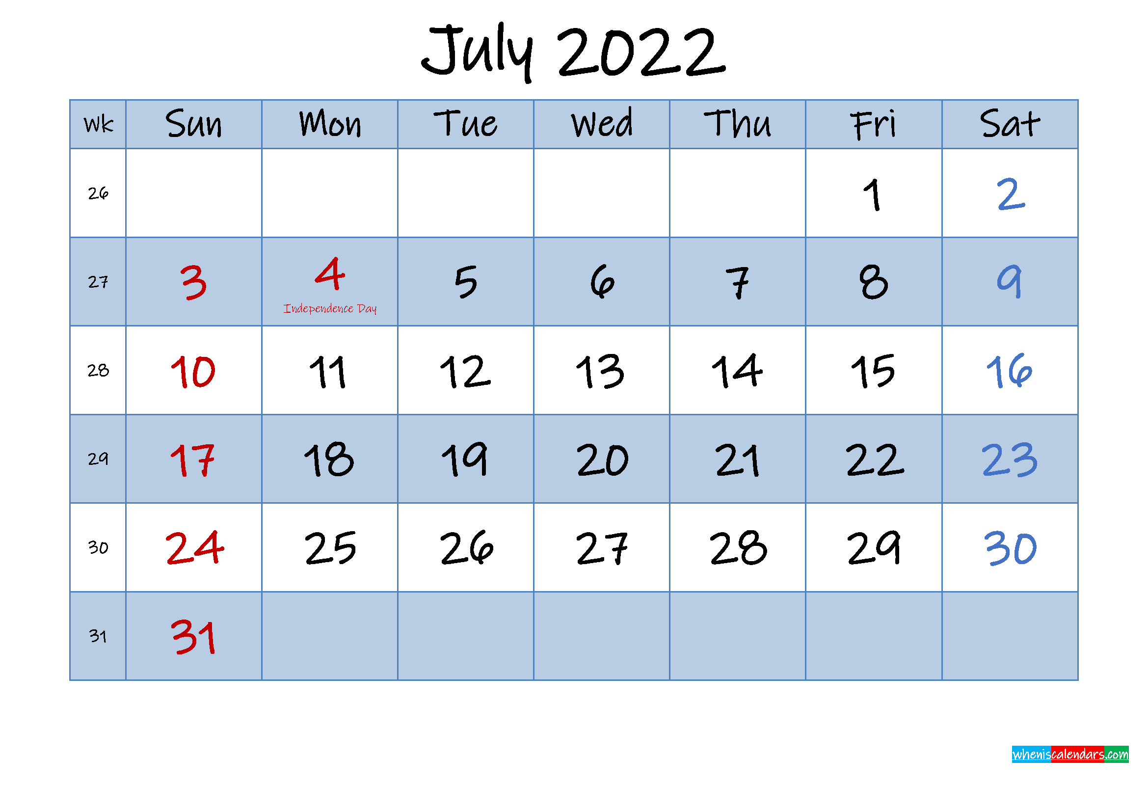 Free July 2022 Monthly Calendar PDF