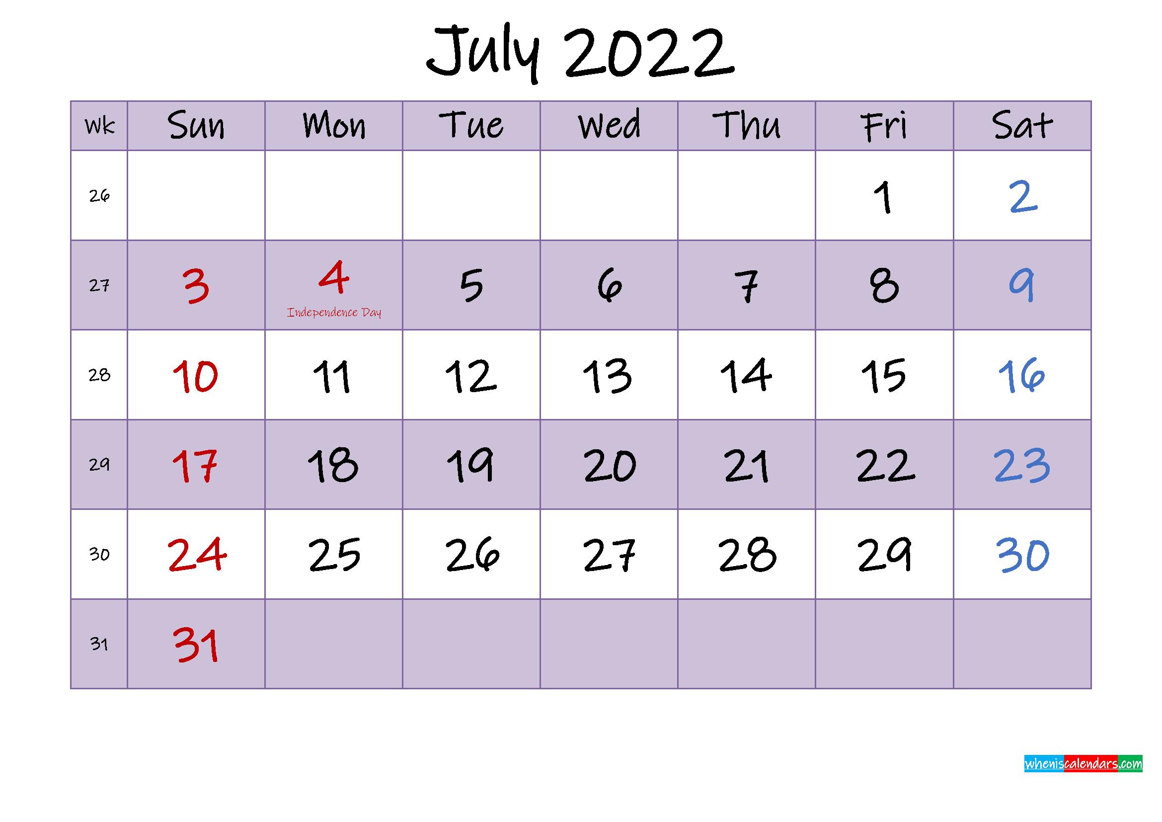 Editable July 2022 Calendar