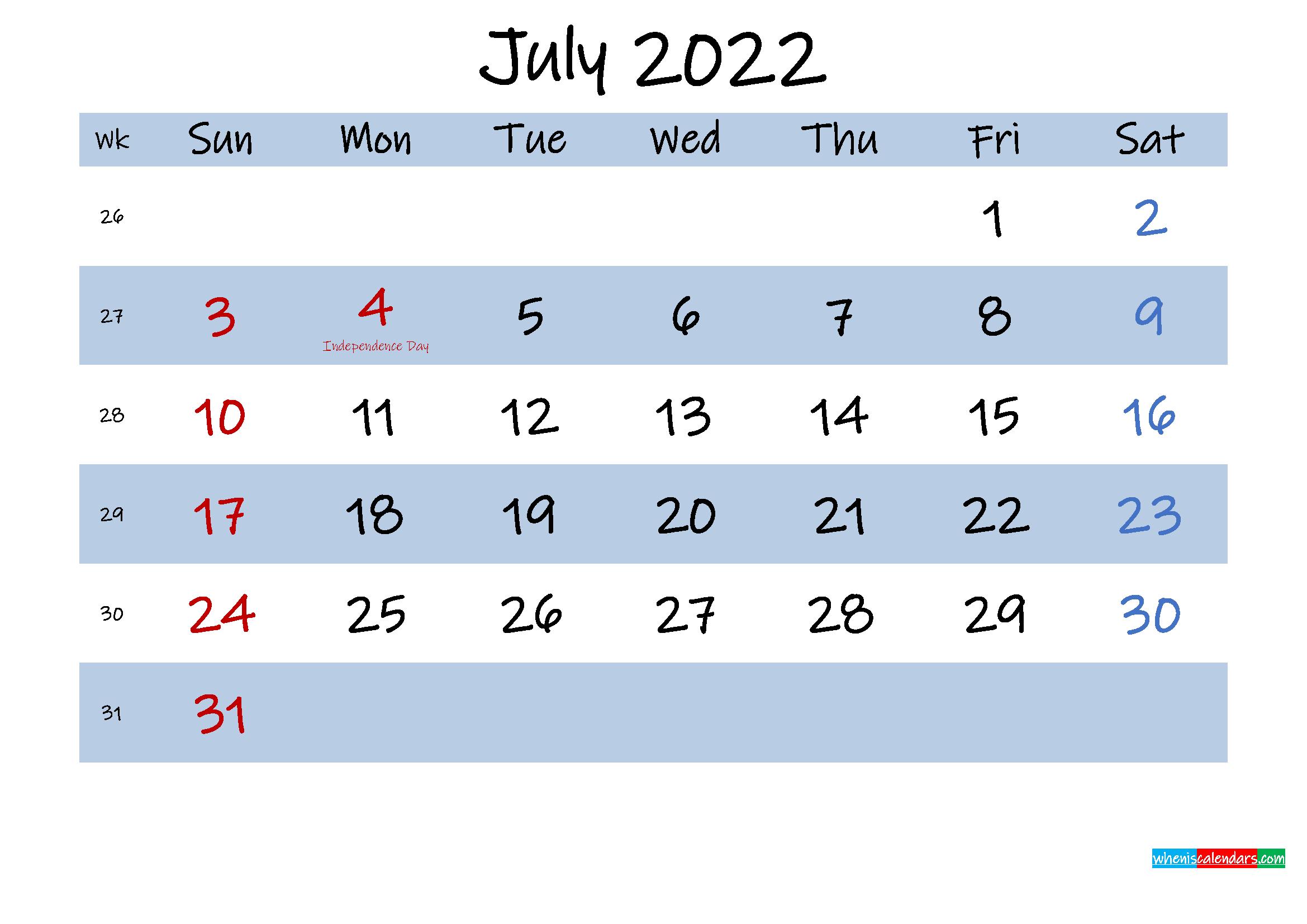 Printable July 2022 Calendar Word
