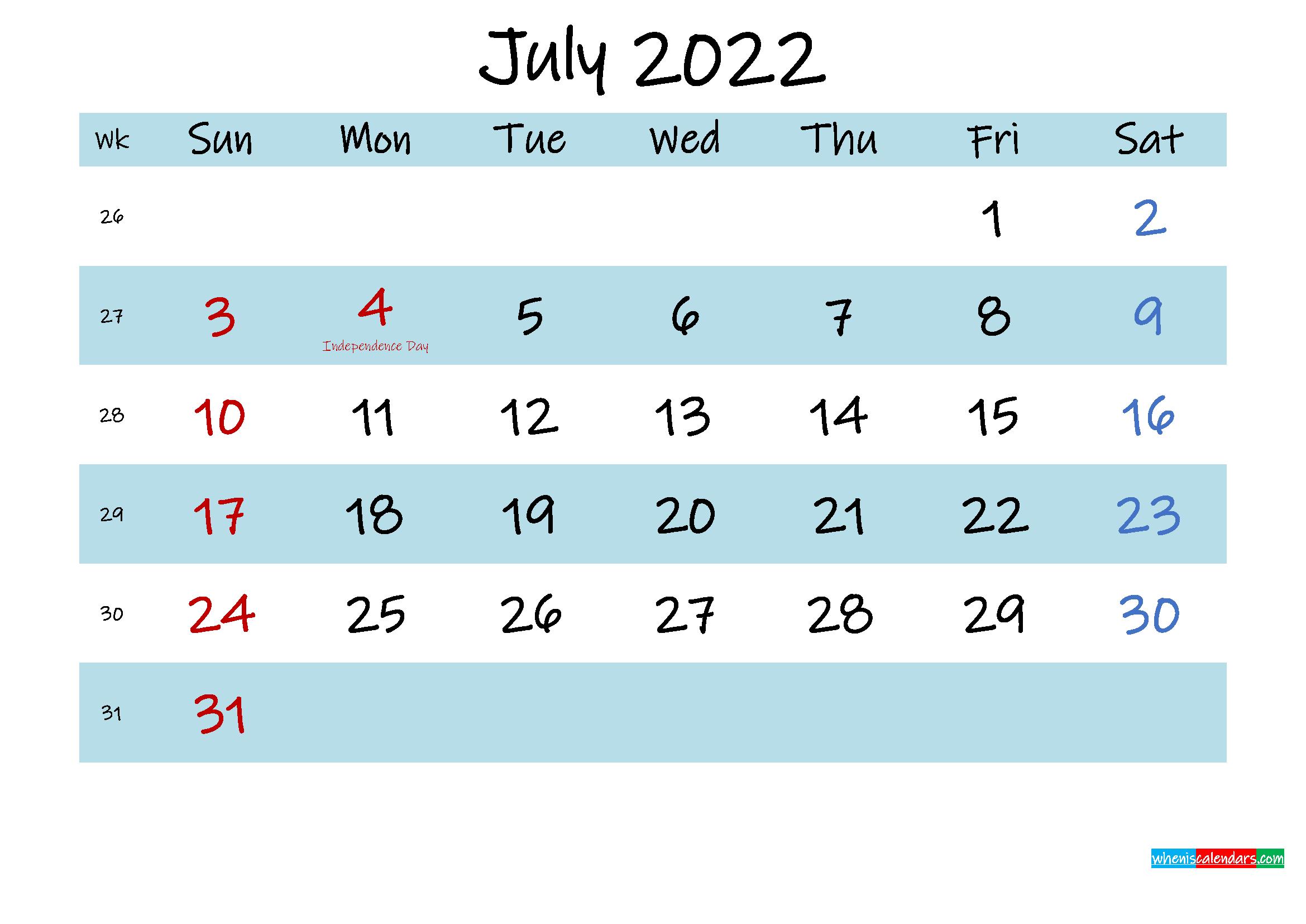 Printable July 2022 Calendar PDF