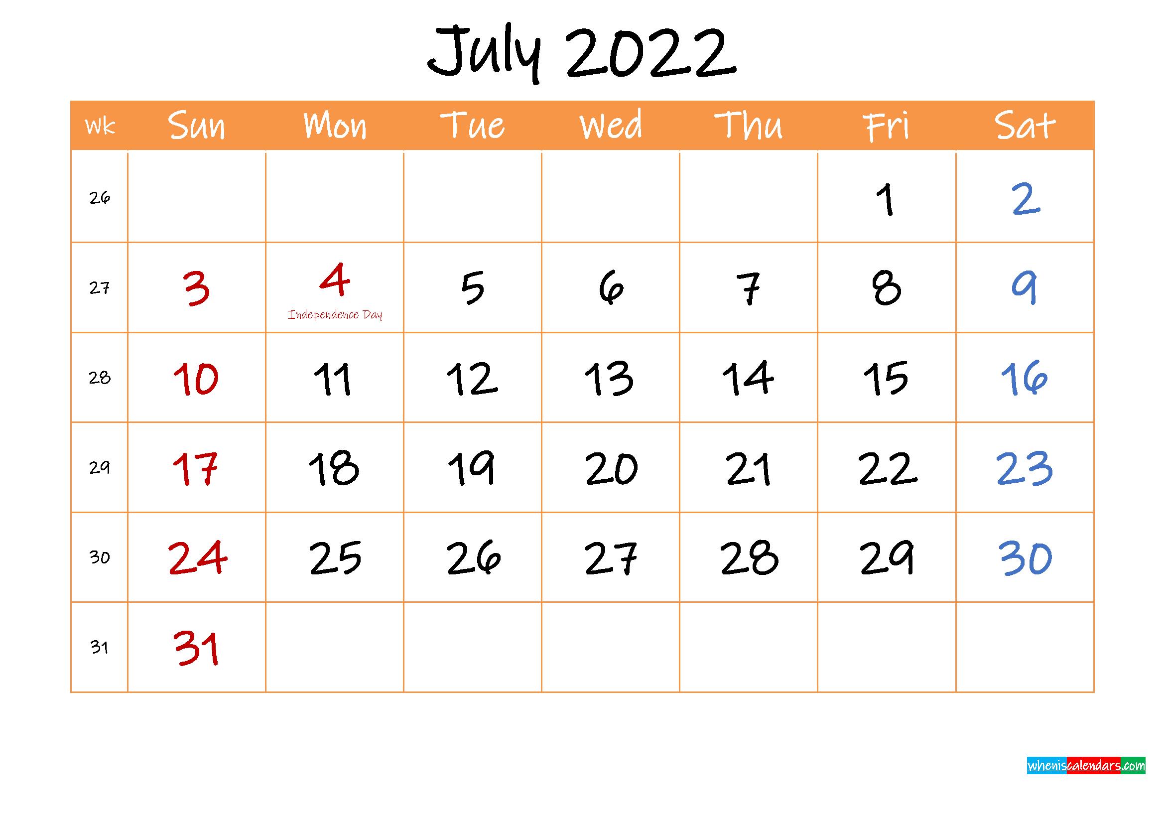 Free Printable Calendar July 2022