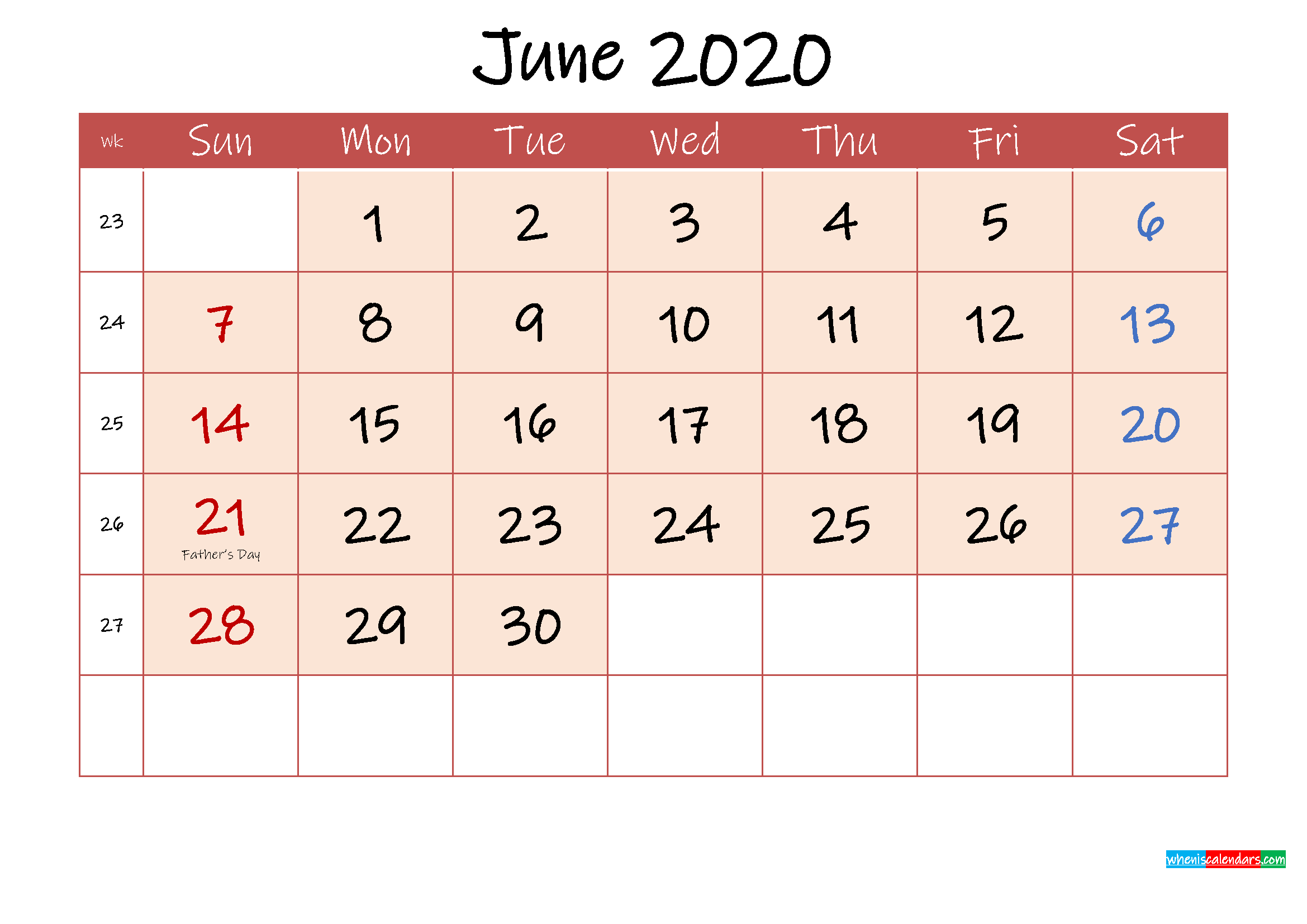 June 2020 Free Printable Calendar with Holidays