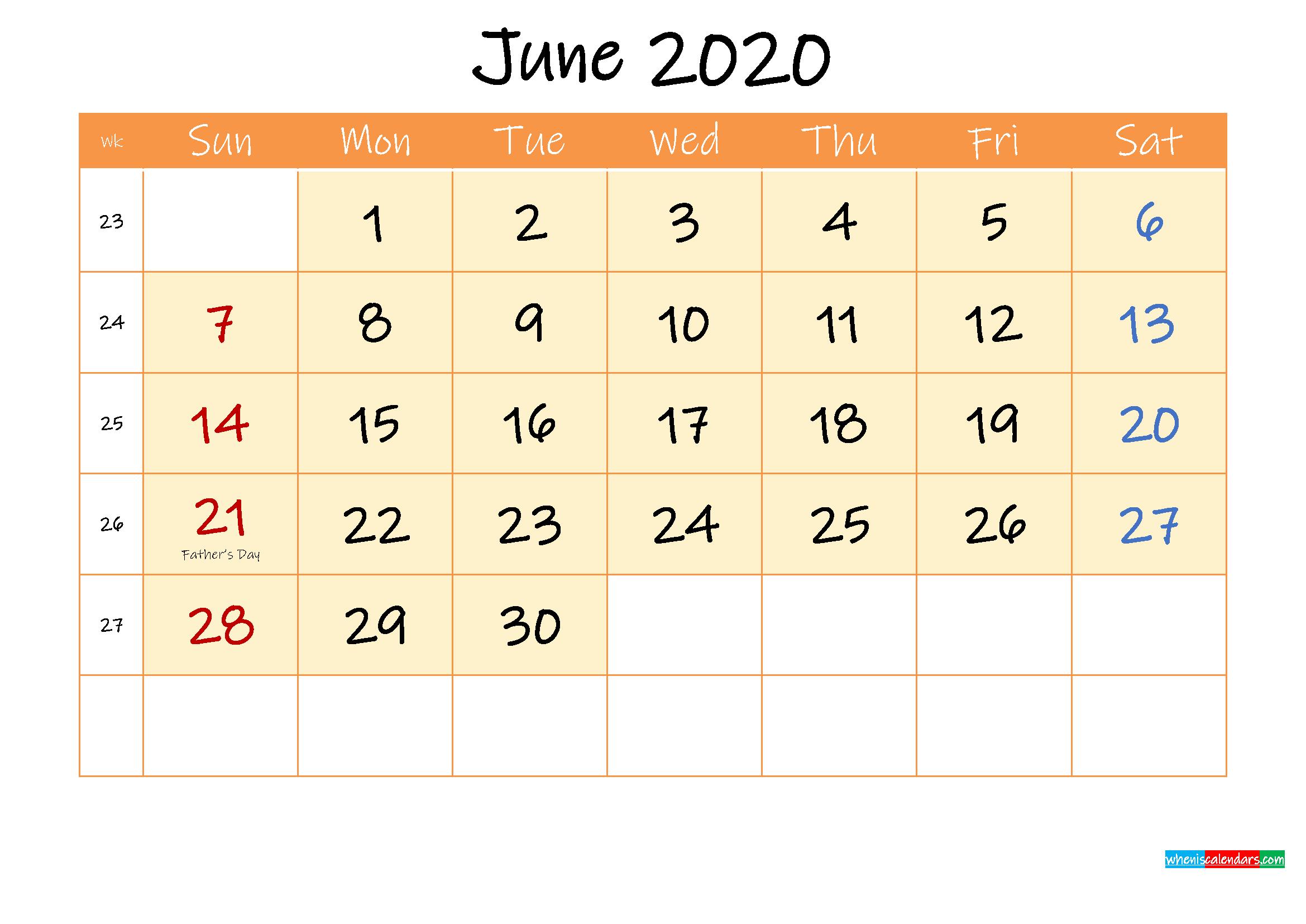 June 2020 Free Printable Calendar