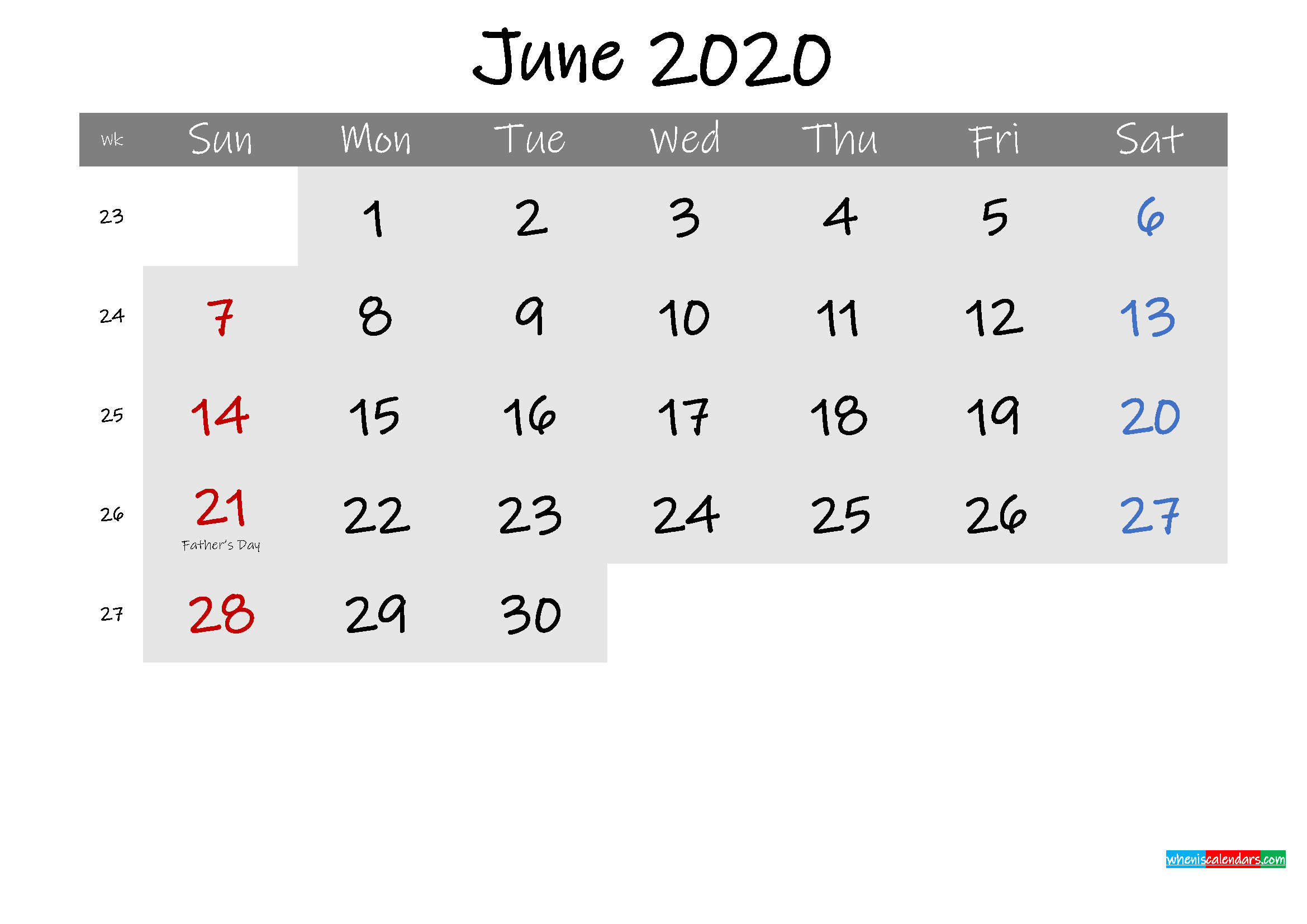 Free June 2020 Monthly Calendar Template Word