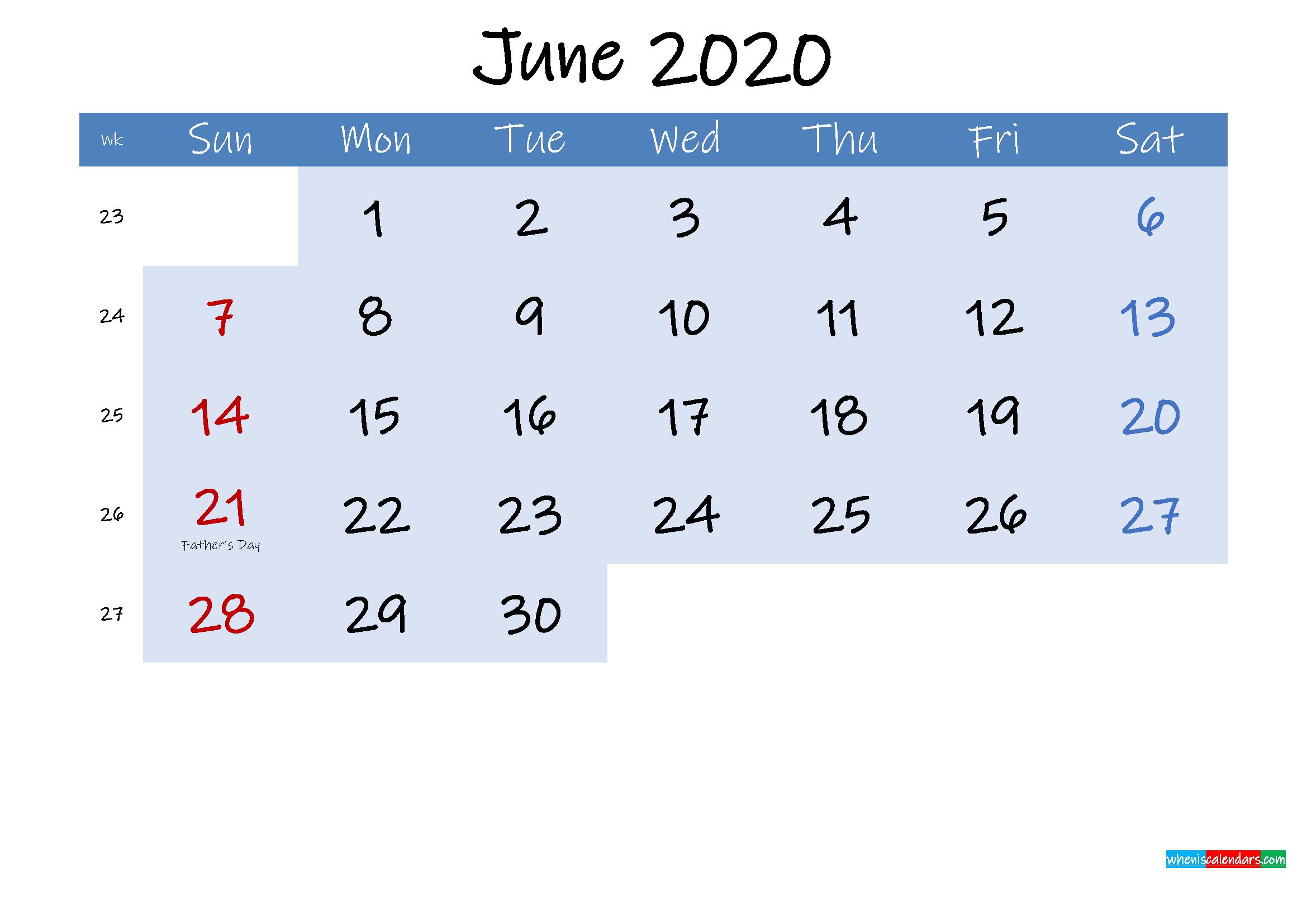 Free June 2020 Monthly Calendar PDF