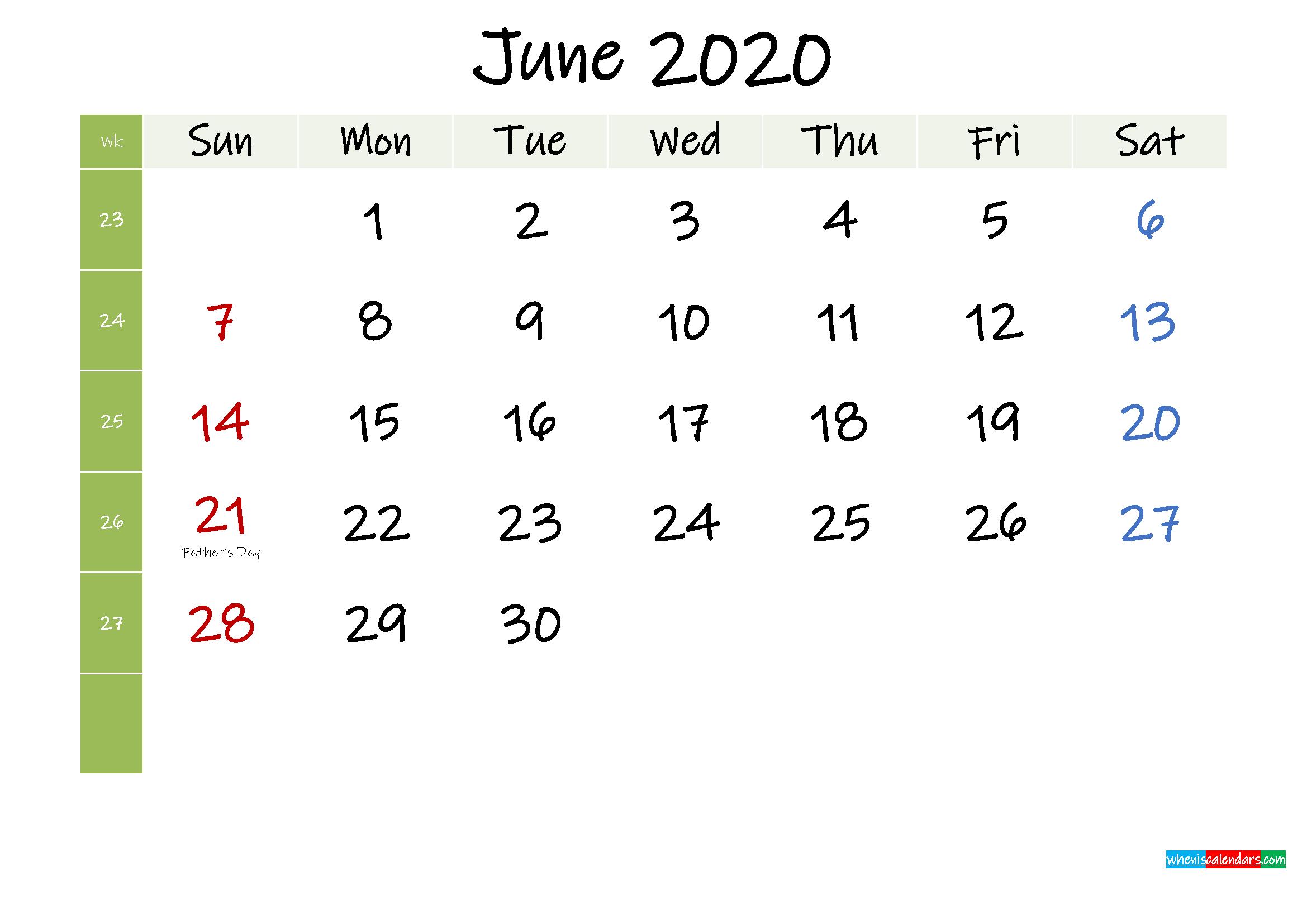 Free June 2020 Printable Calendar with Holidays