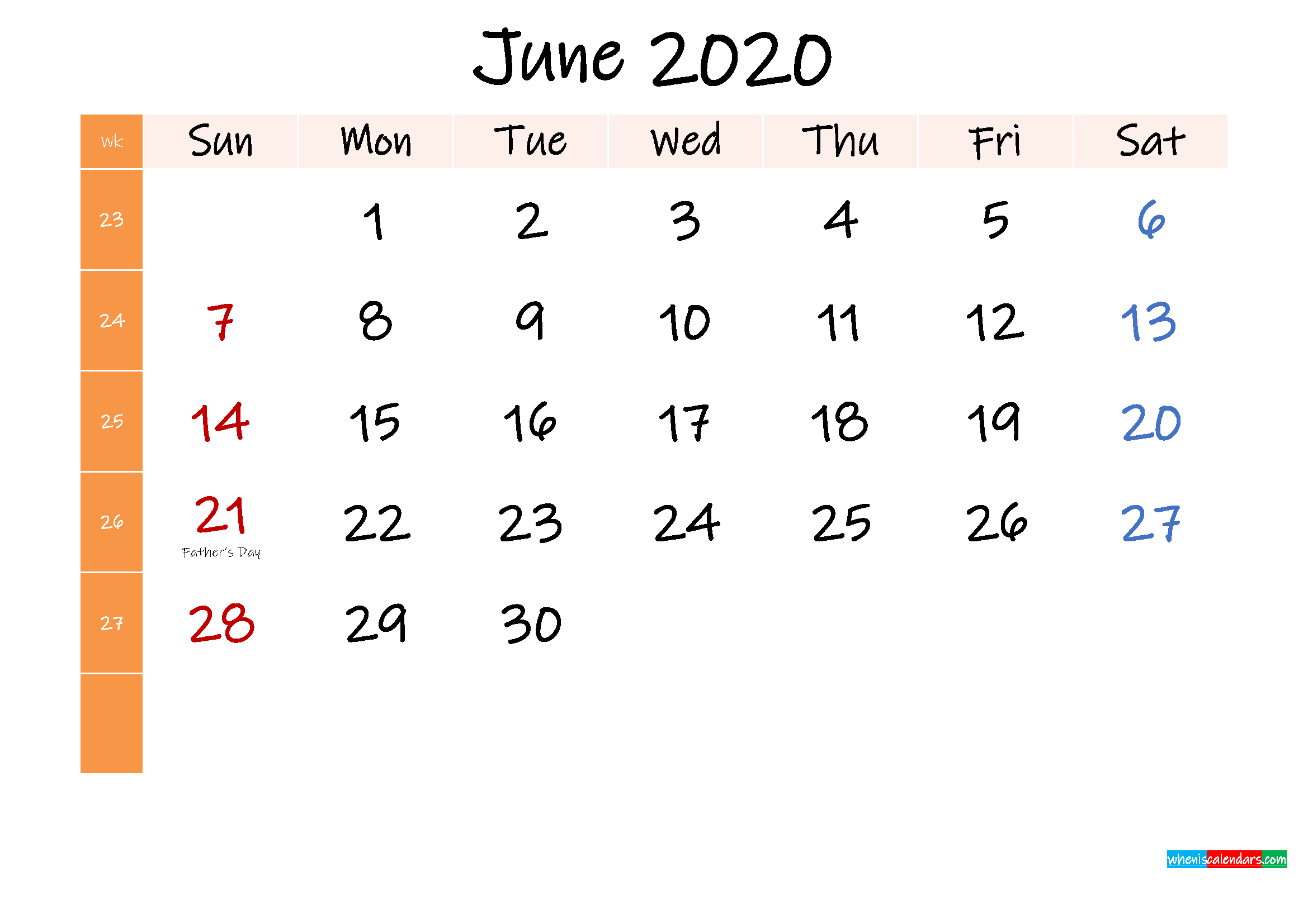 Free June 2020 Monthly Calendar Template Word