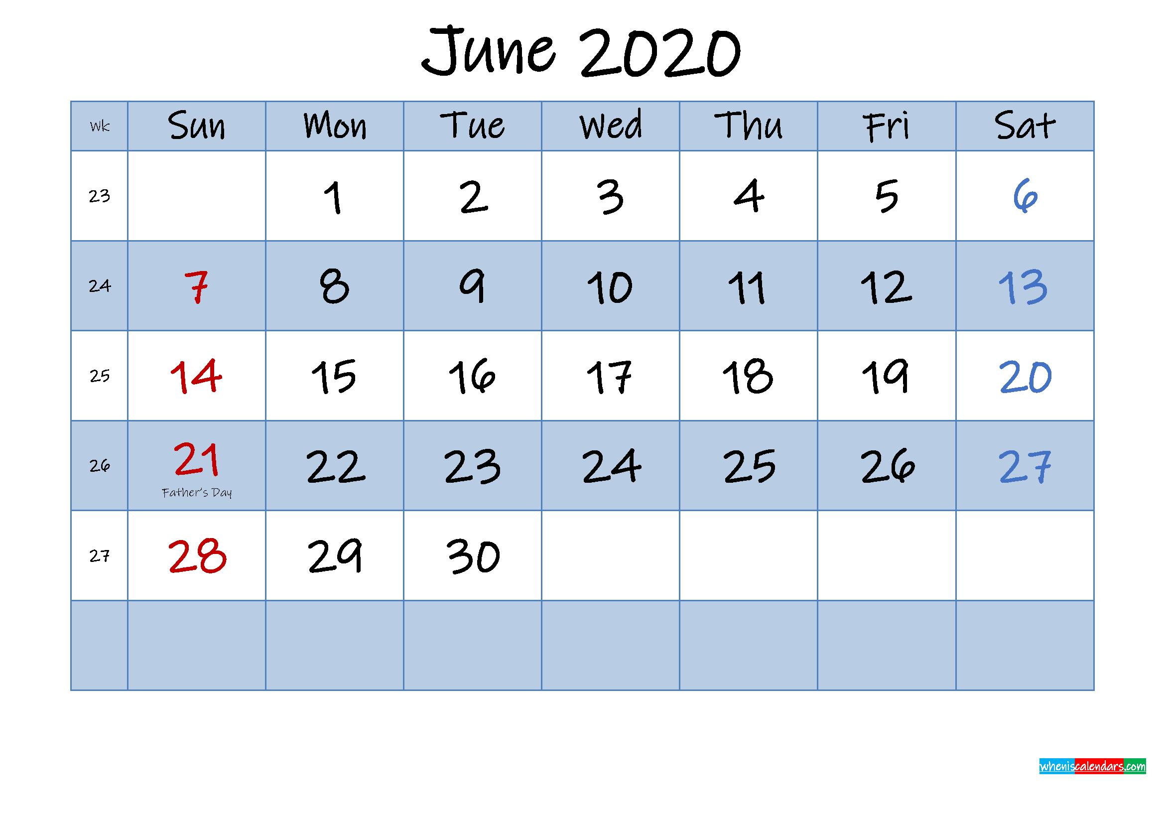 Free June 2020 Monthly Calendar PDF