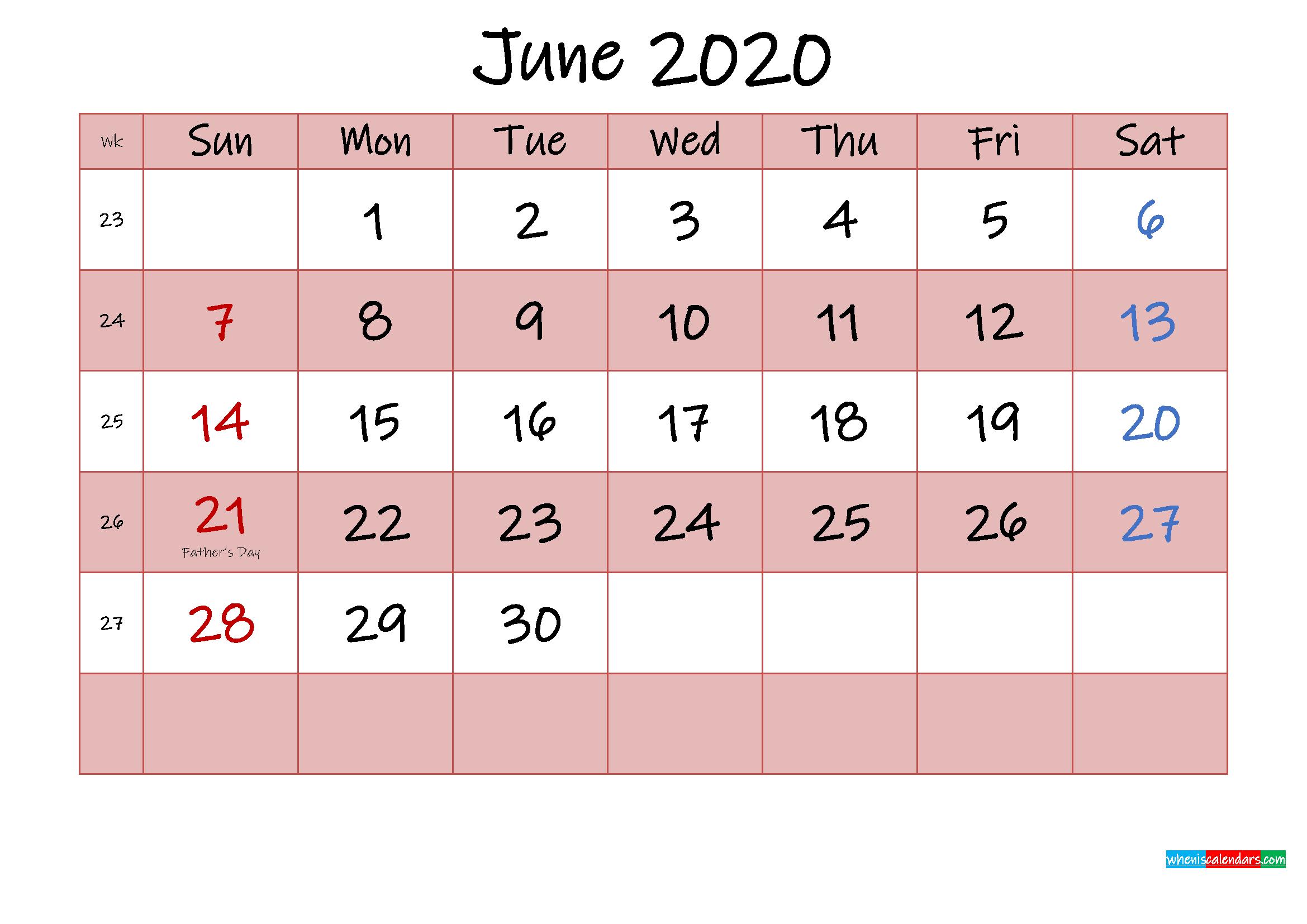 Free Printable Coloring Calendar 2020 June