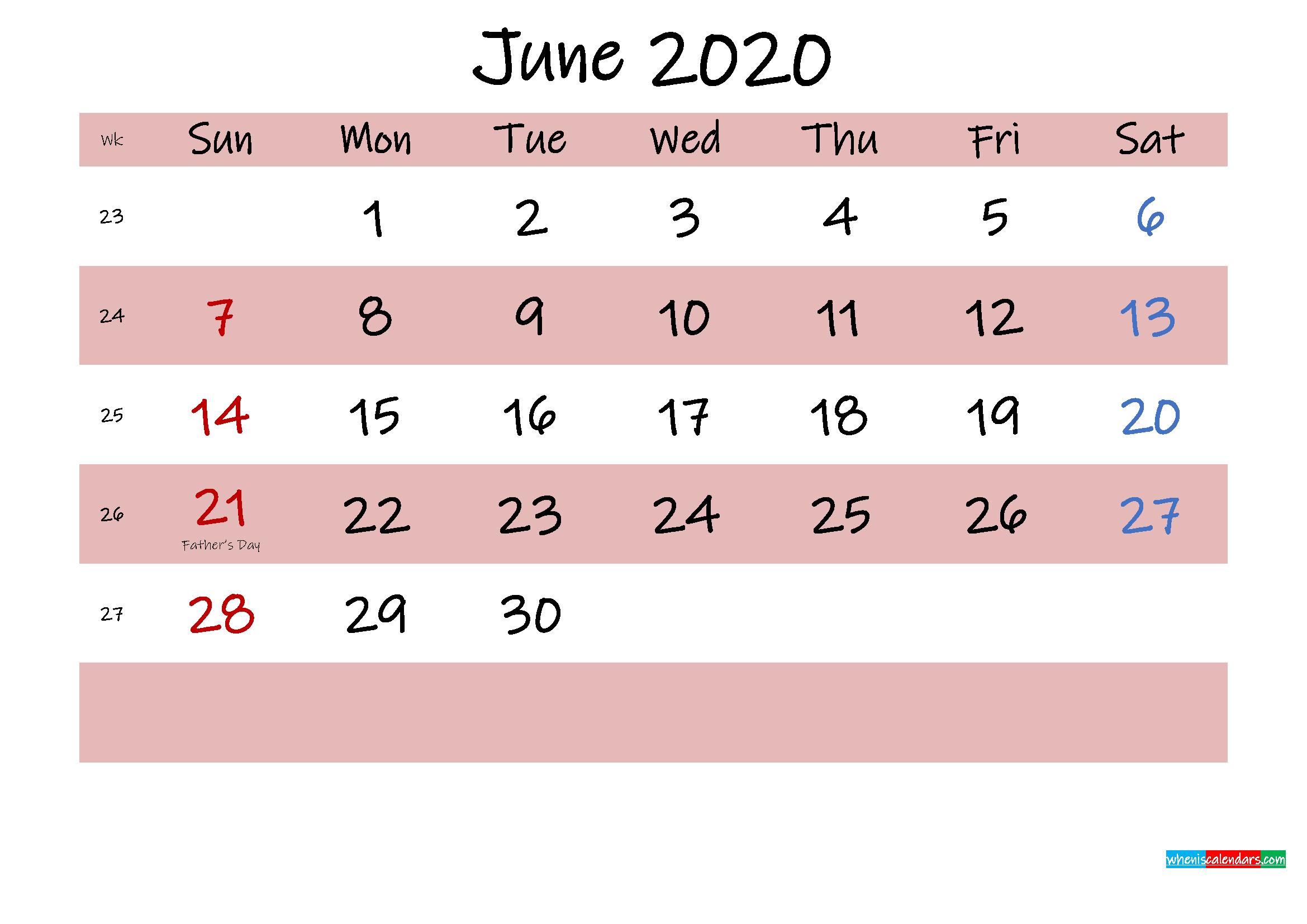 Printable June 2020 Calendar with Holidays