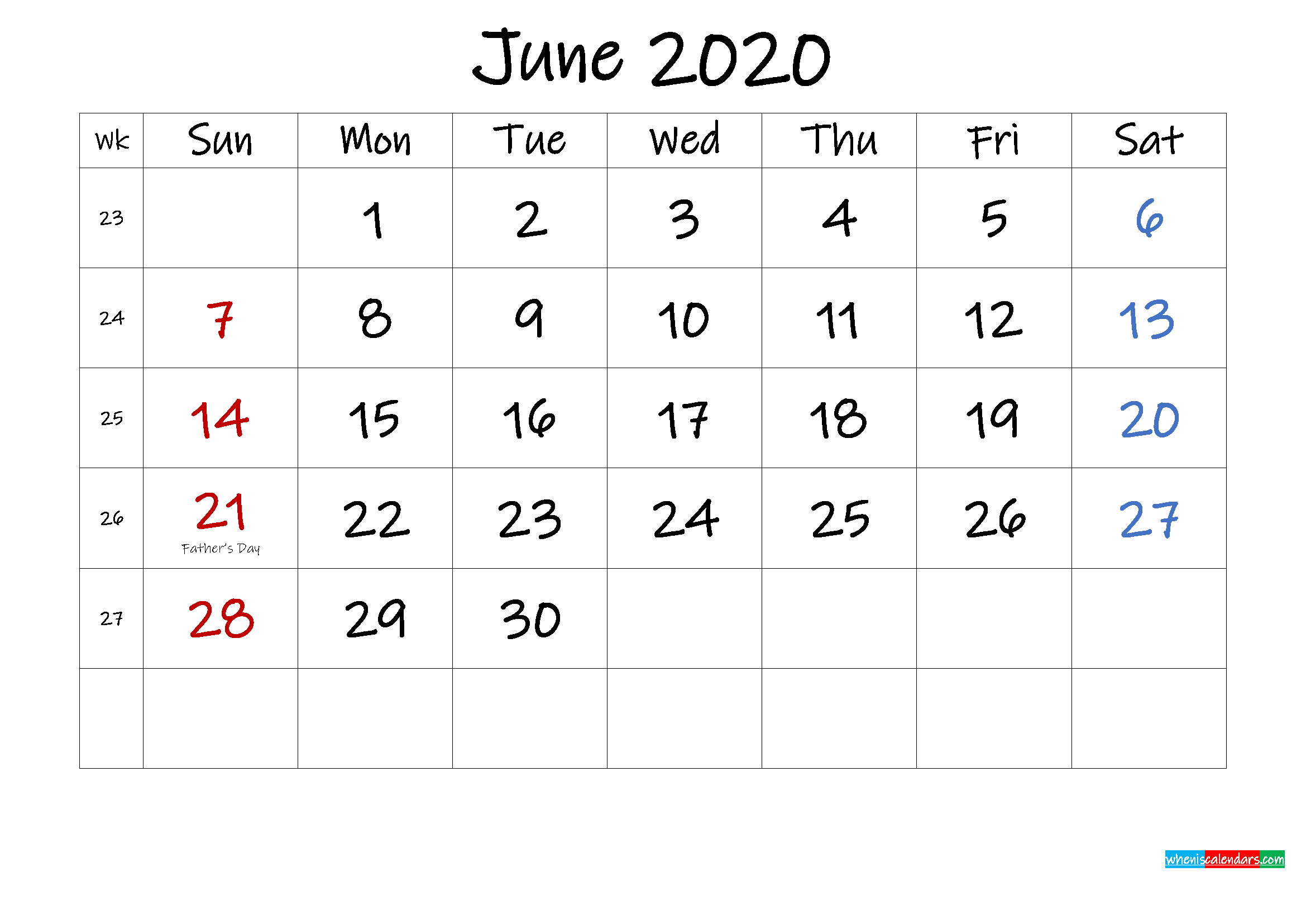 June 2020 Free Printable Calendar with Holidays