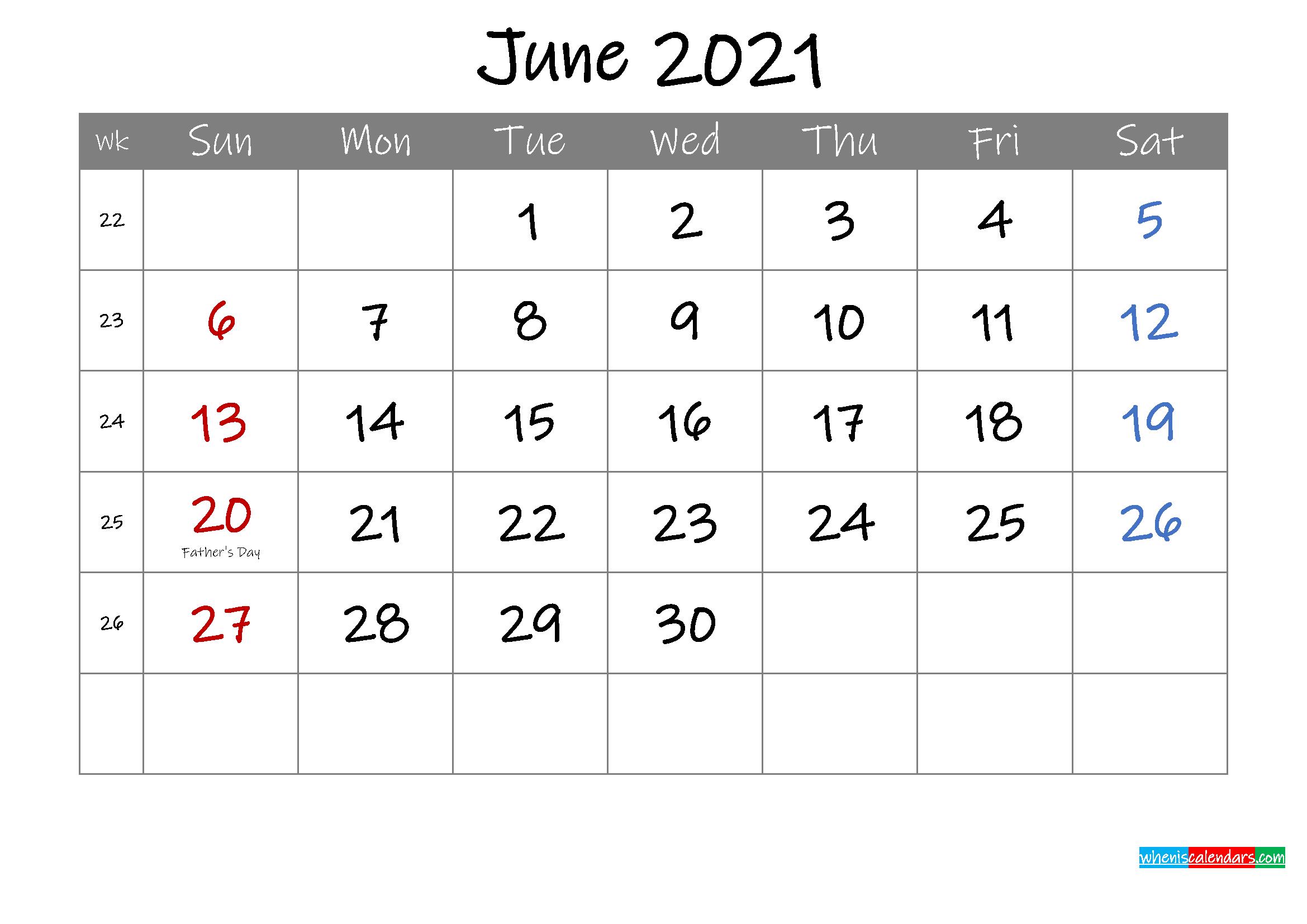 Editable June 2021 Calendar with Holidays