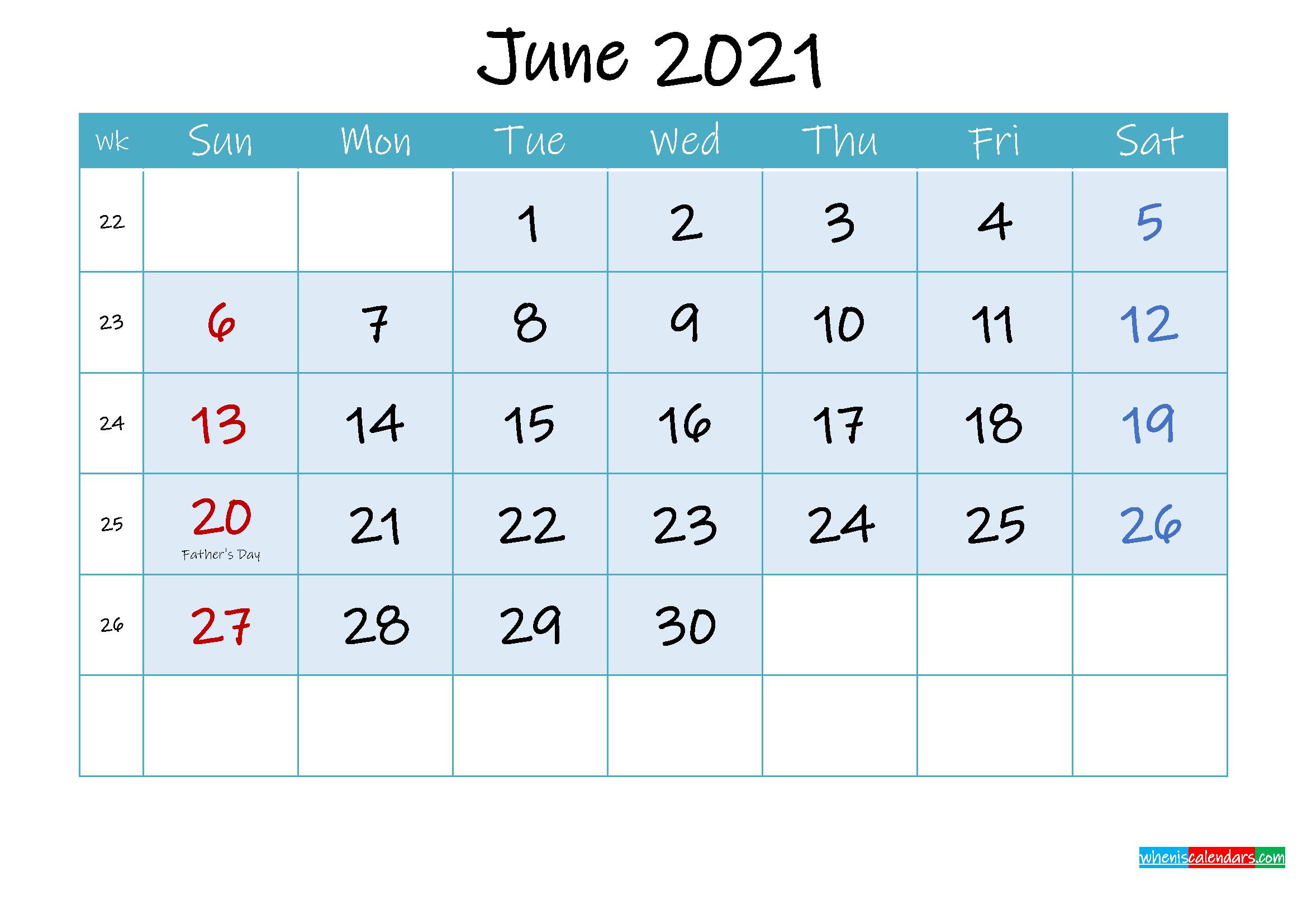 June 2021 Free Printable Calendar with Holidays