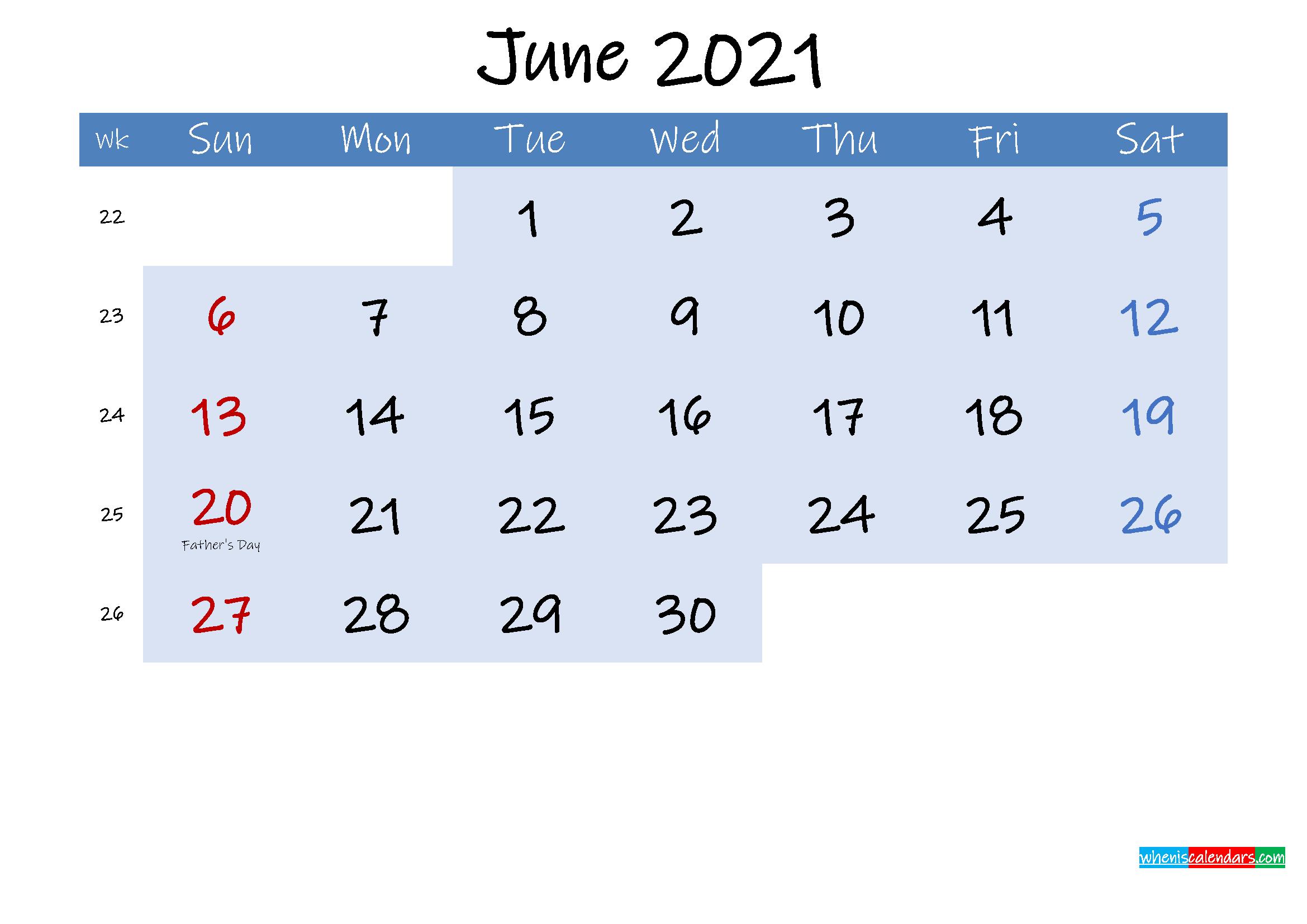 Free June 2021 Monthly Calendar PDF