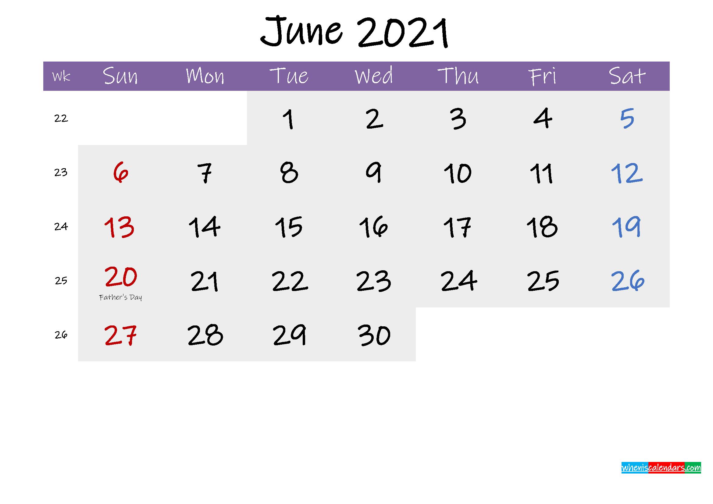 Editable June 2021 Calendar Word