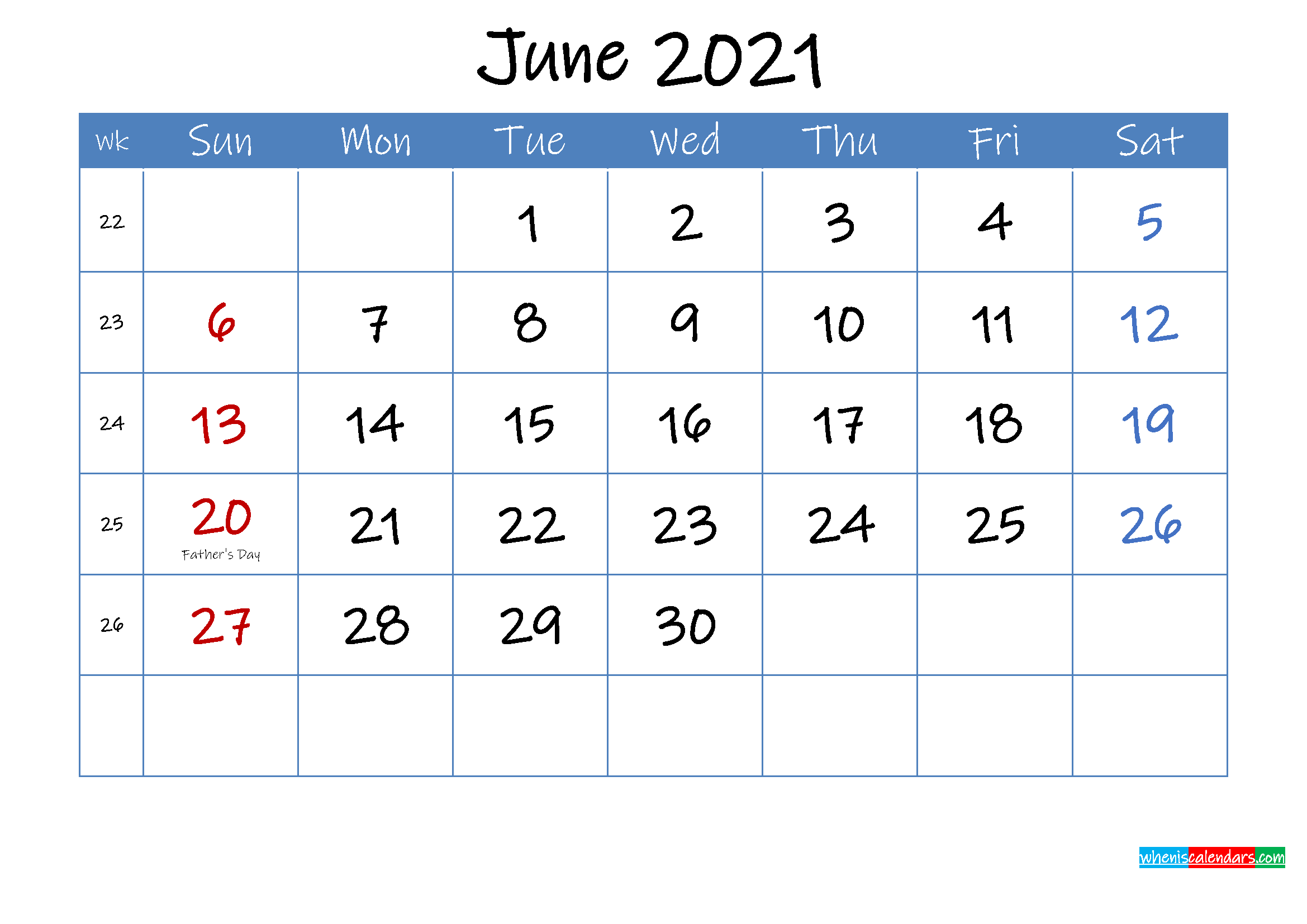 Printable June 2021 Calendar Word