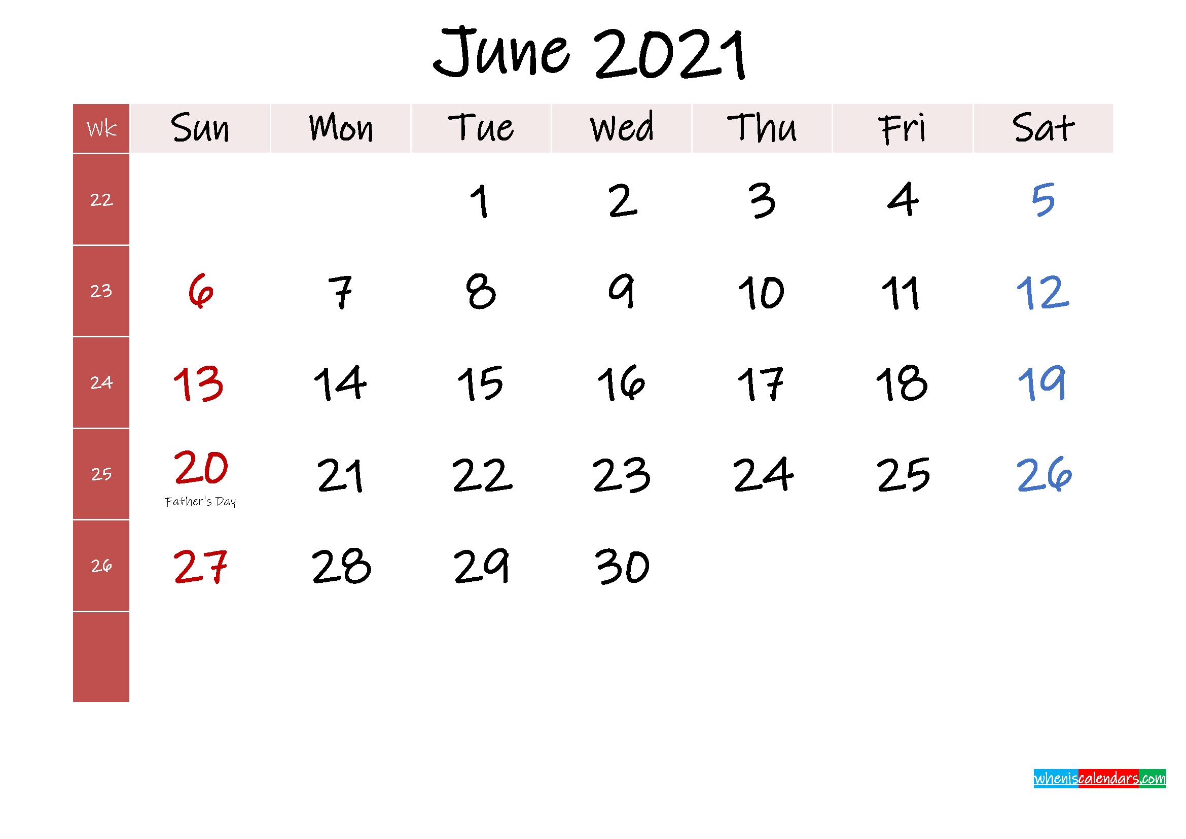 June 2021 Free Printable Calendar