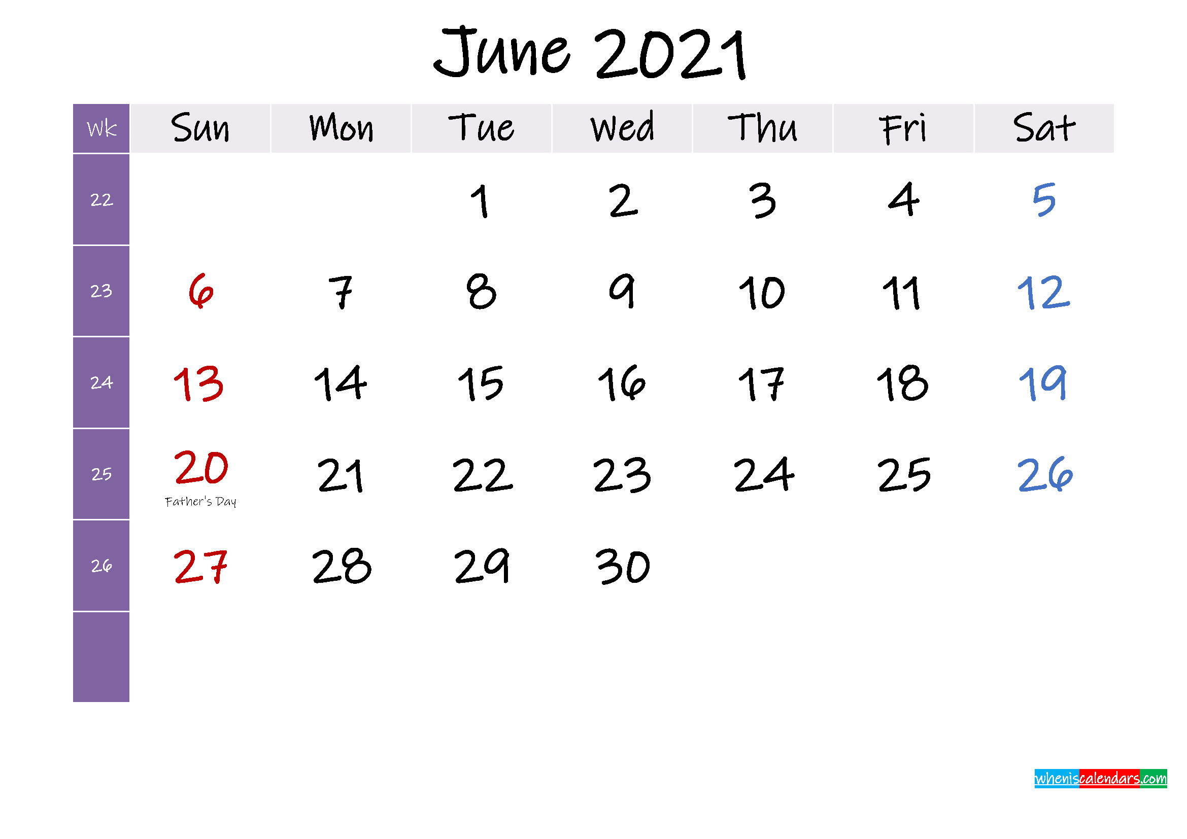 June 2021 Free Printable Calendar with Holidays