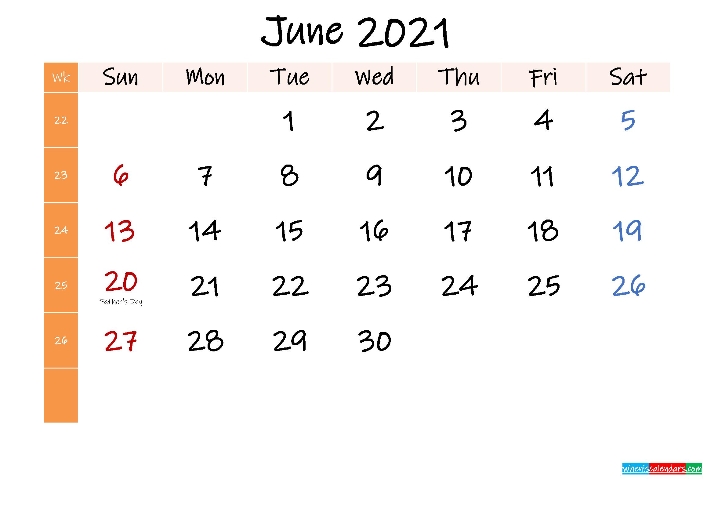 Free June 2021 Monthly Calendar Template Word