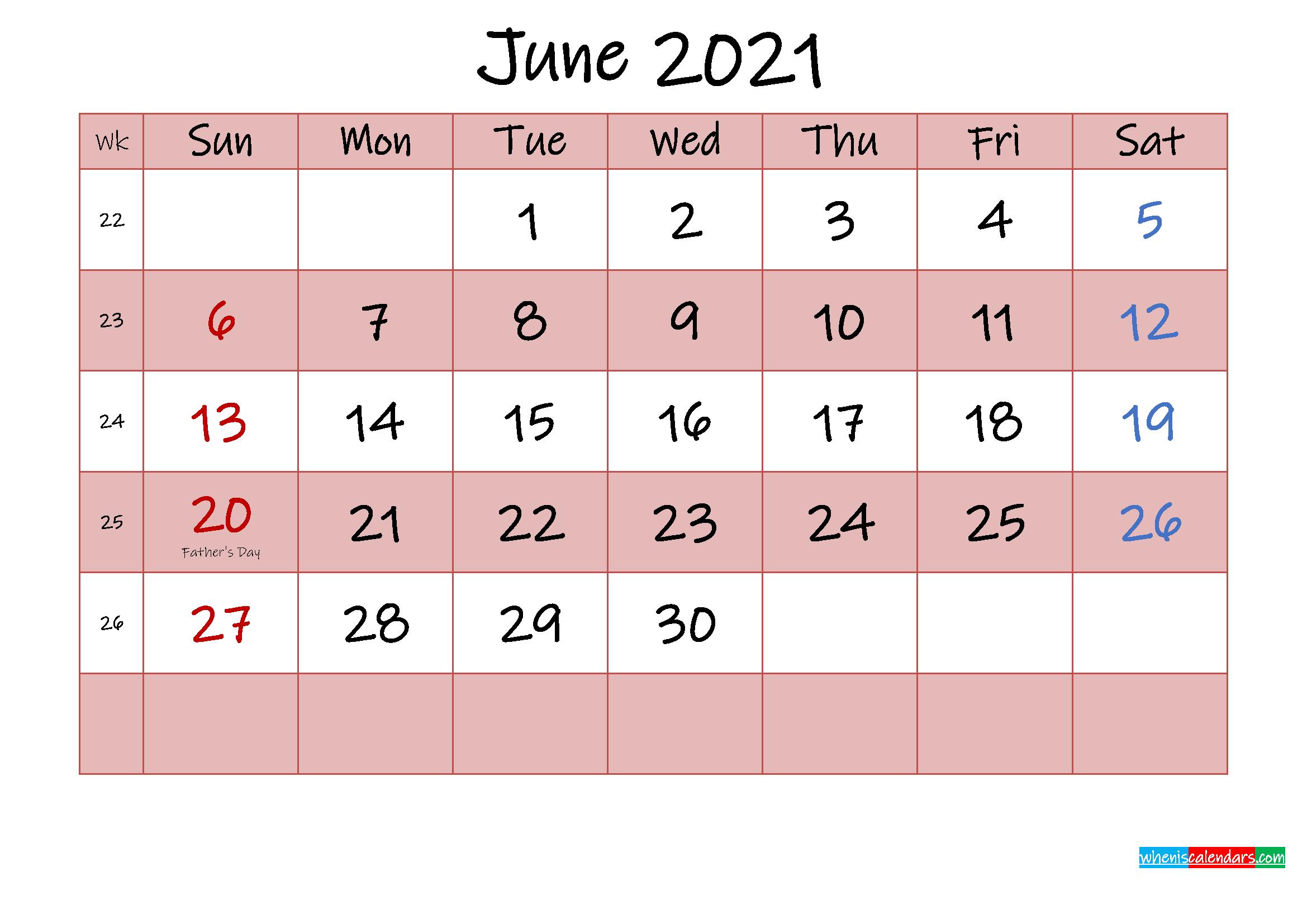 Free Printable Coloring Calendar 2021 June