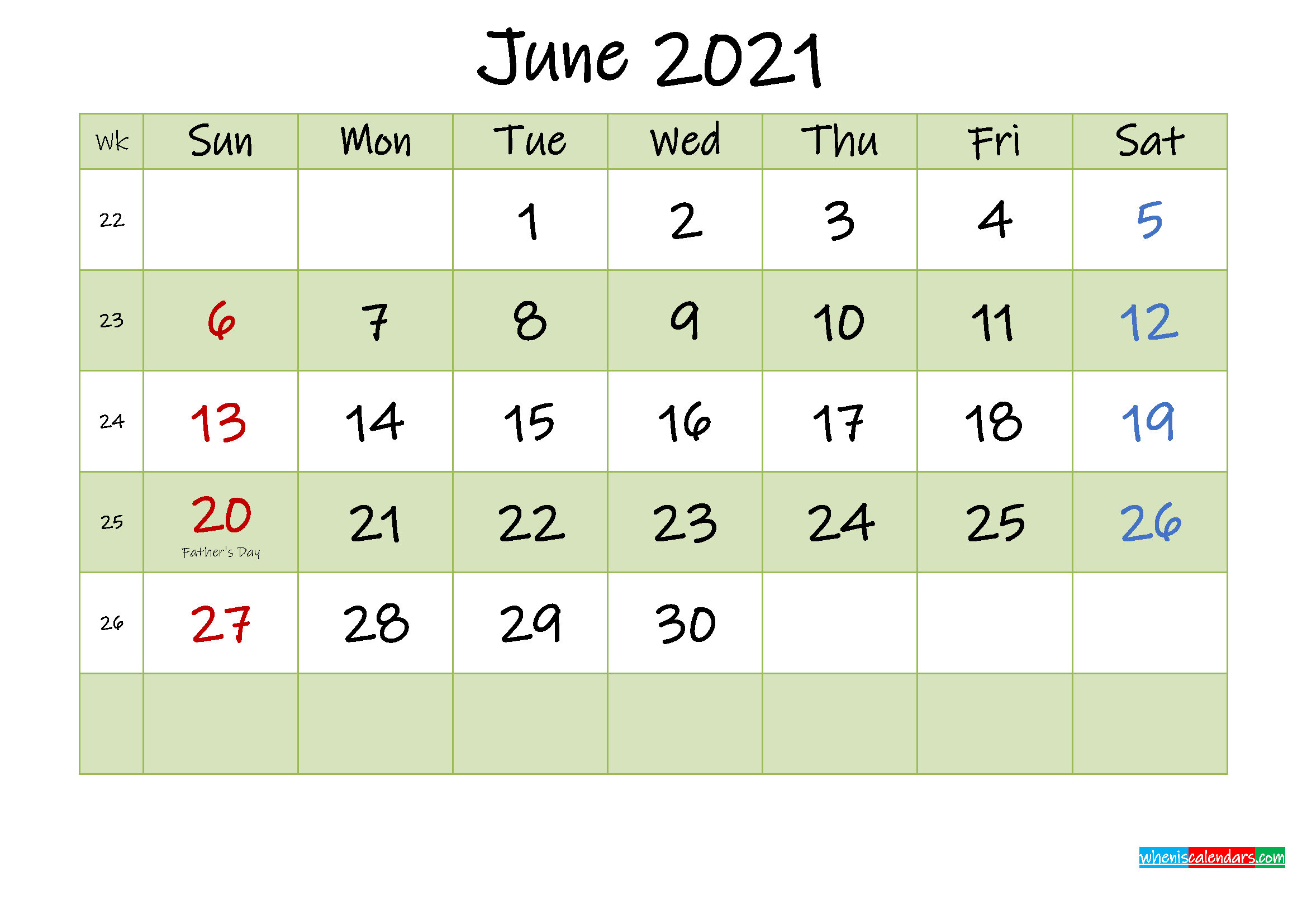June 2021 Calendar with Holidays Printable