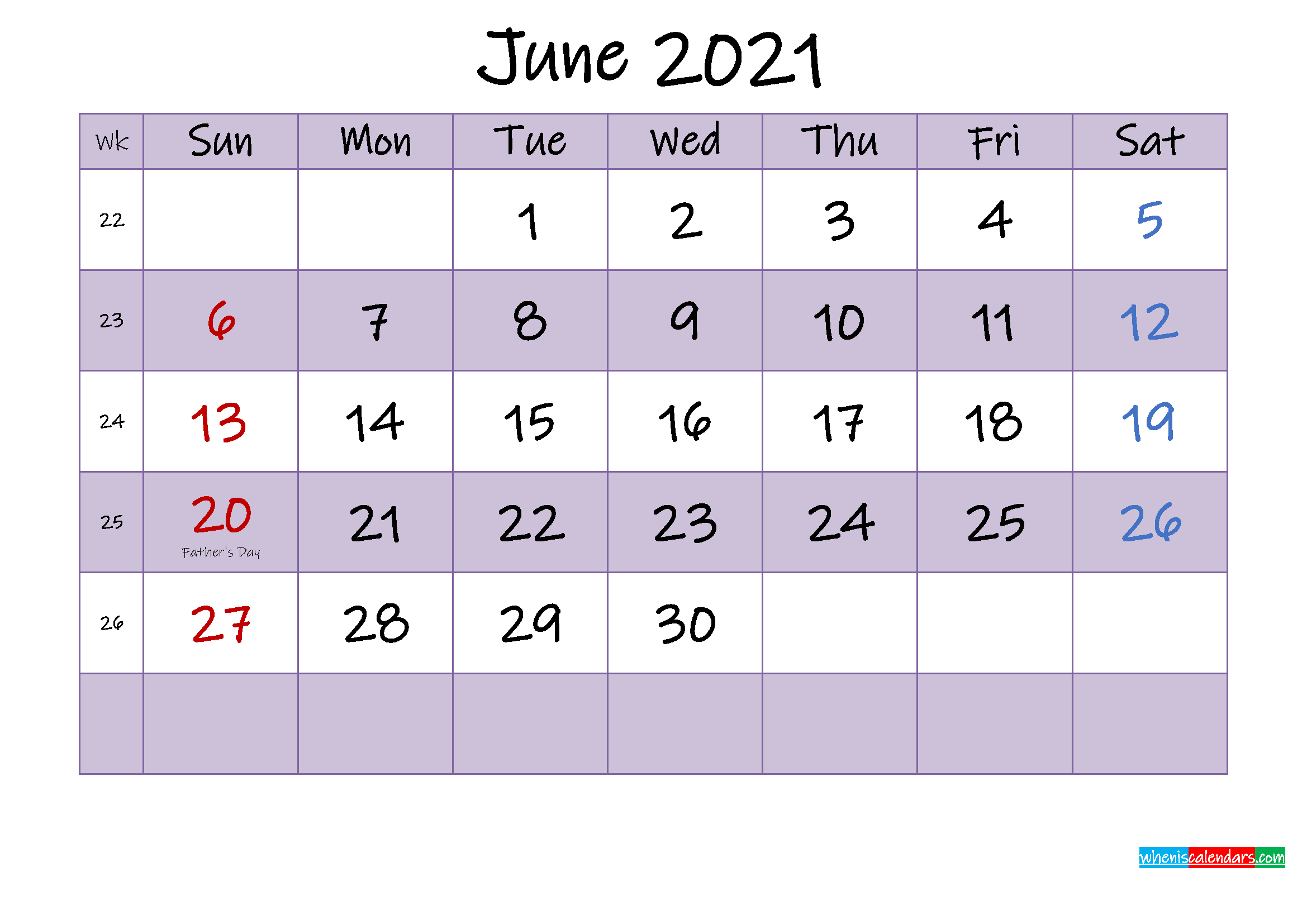 Editable June 2021 Calendar - Template No.ink21m462 | Free ...