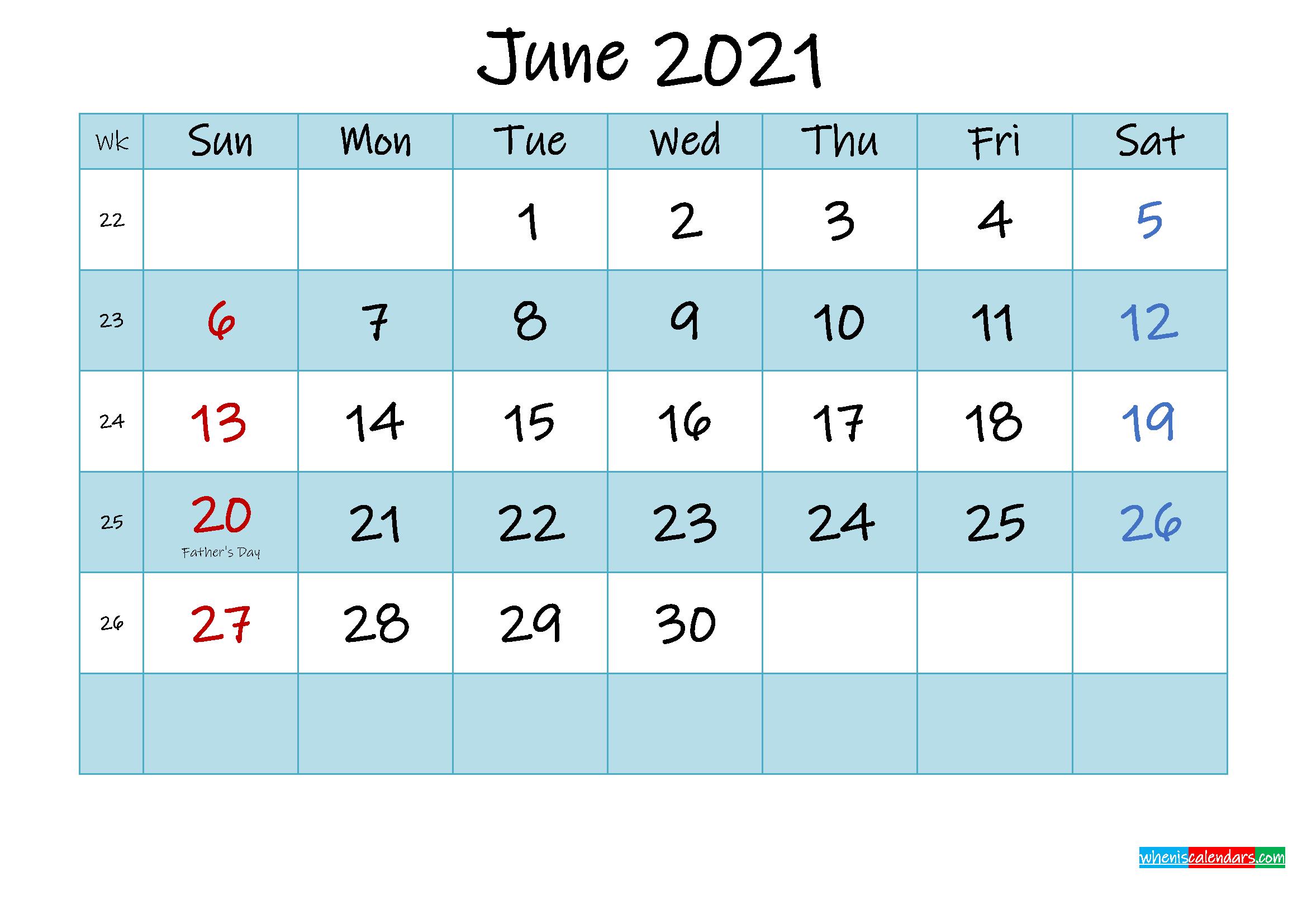 Printable June 2021 Calendar Word - Template No.ink21m474