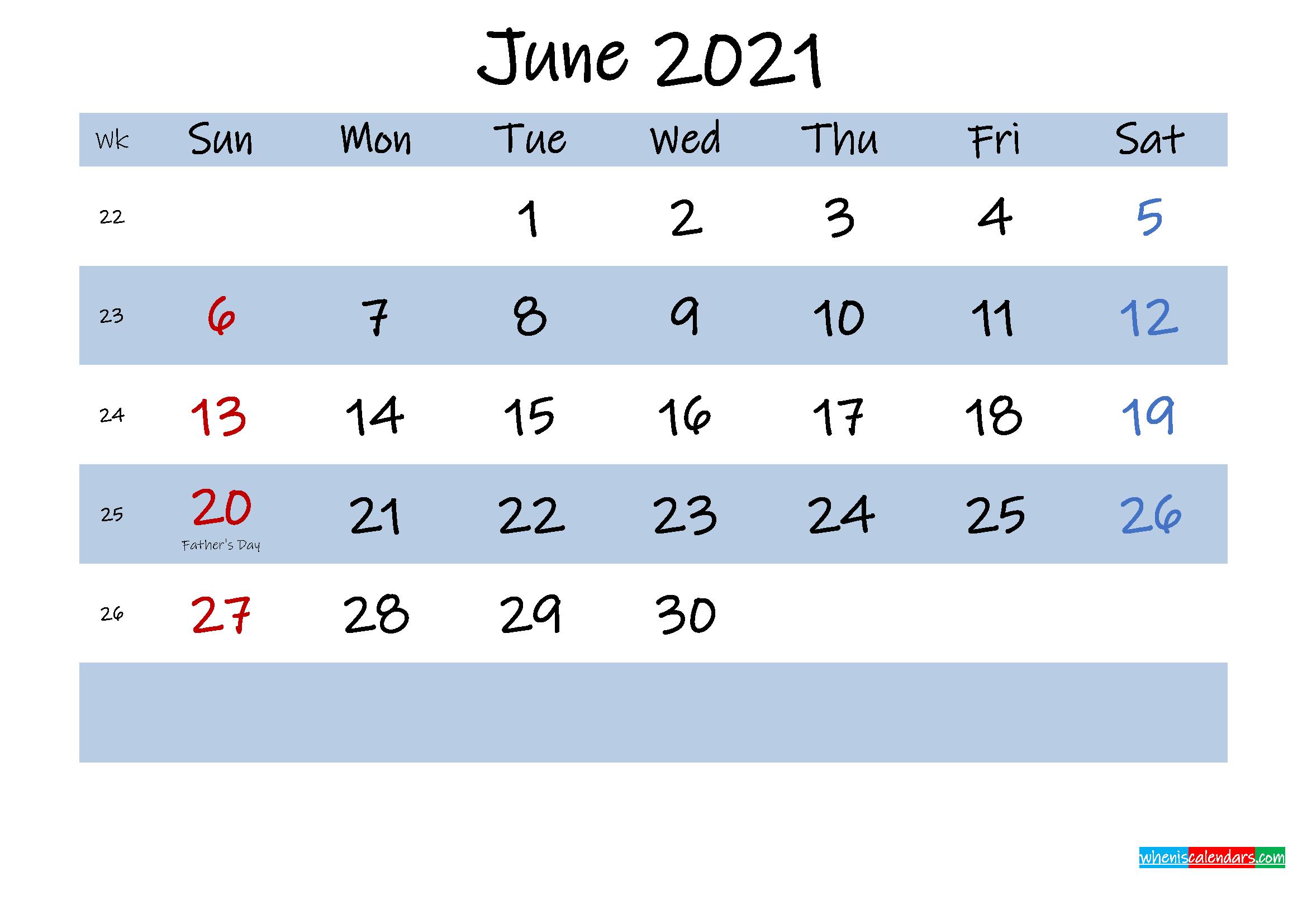 Printable June 2021 Calendar Word