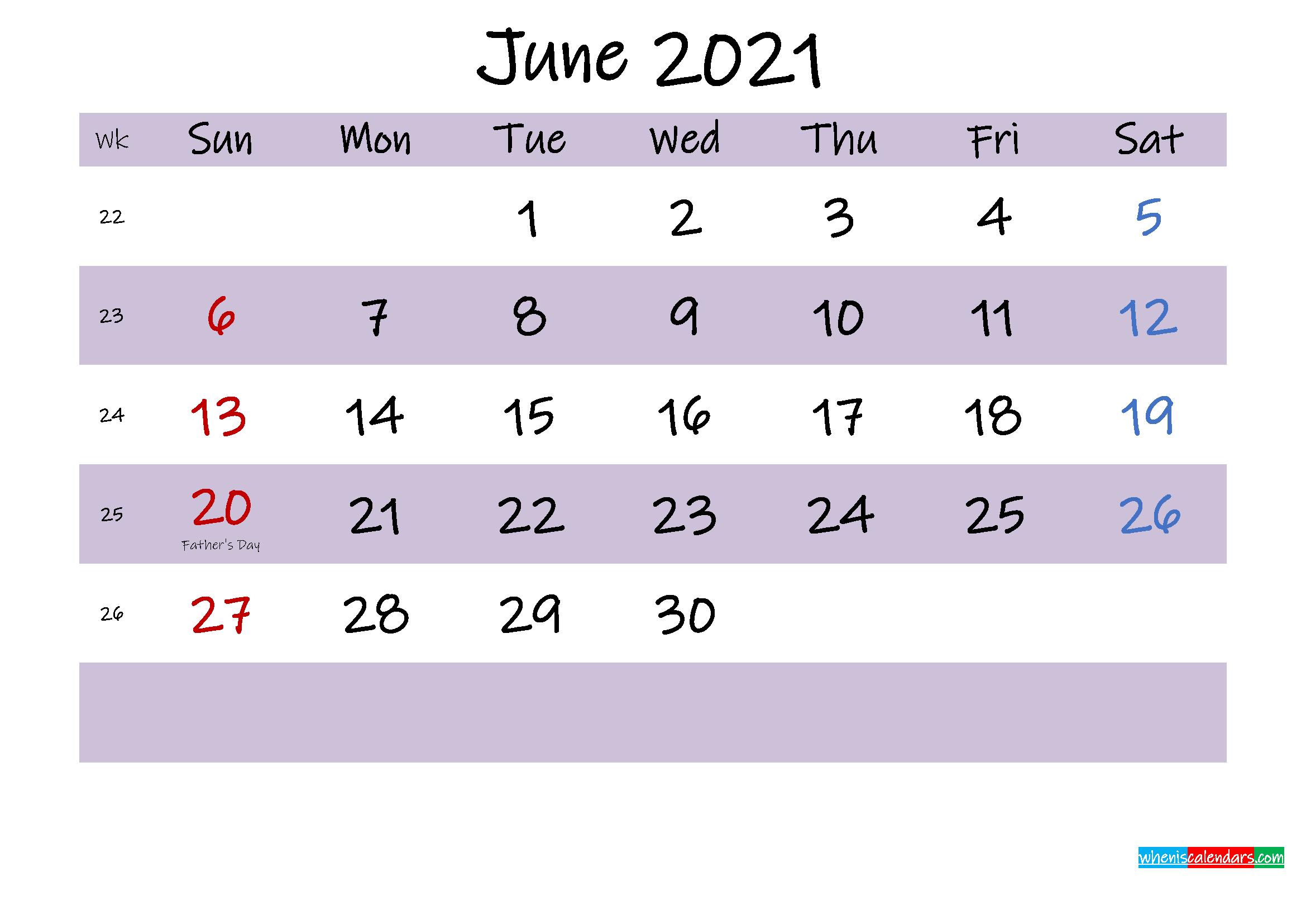 June 2021 Calendar with Holidays Printable