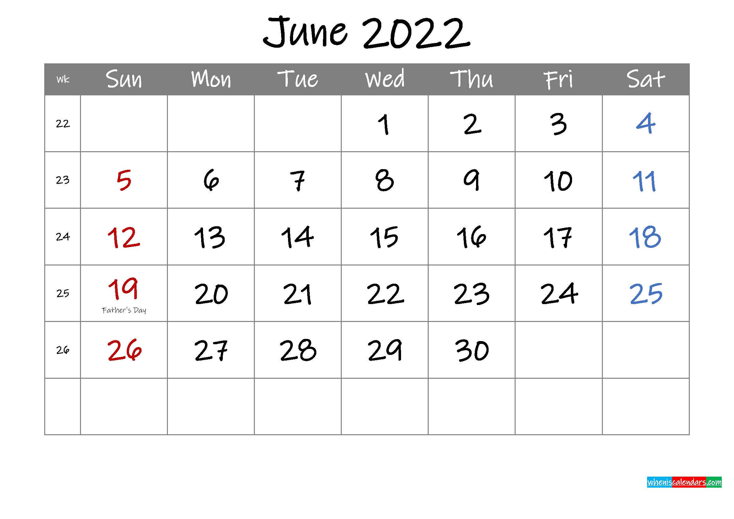 Editable June 2022 Calendar with Holidays