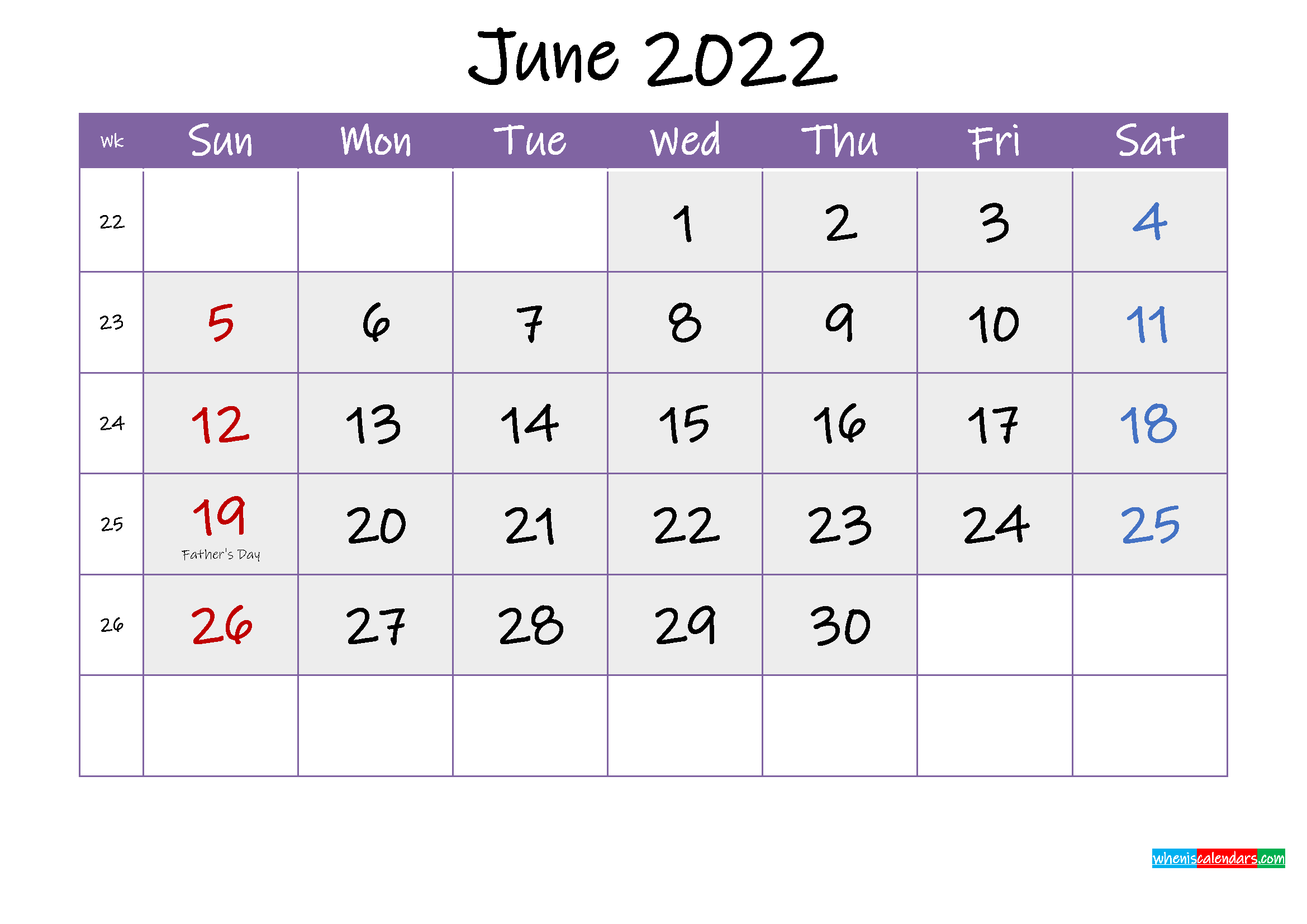 Free June 2022 Printable Calendar with Holidays
