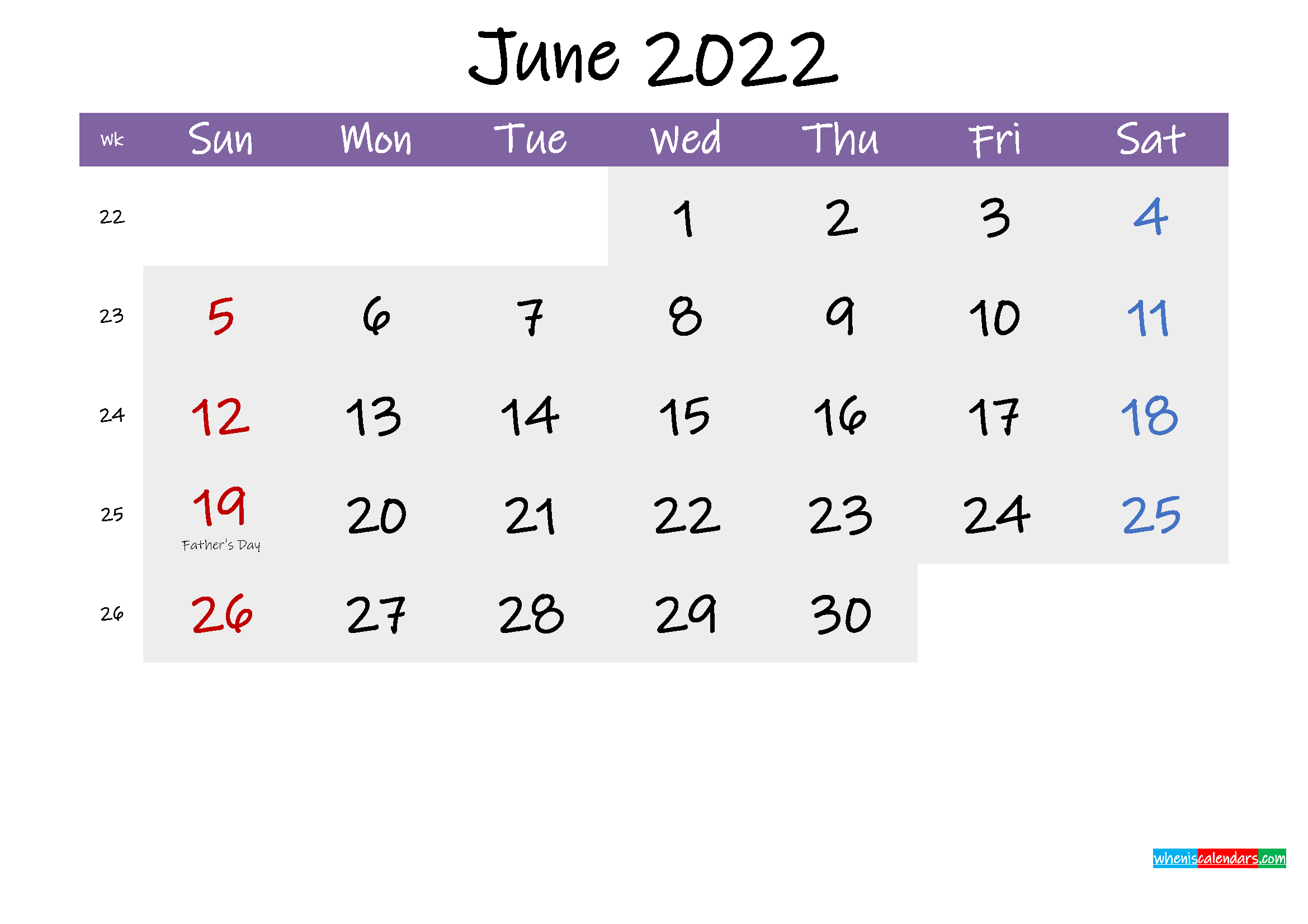 Editable June 2022 Calendar Word
