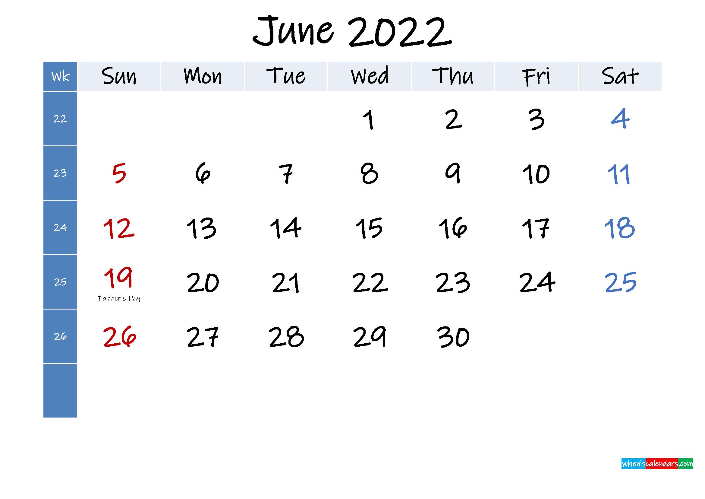 June 2022 Free Printable Calendar with Holidays