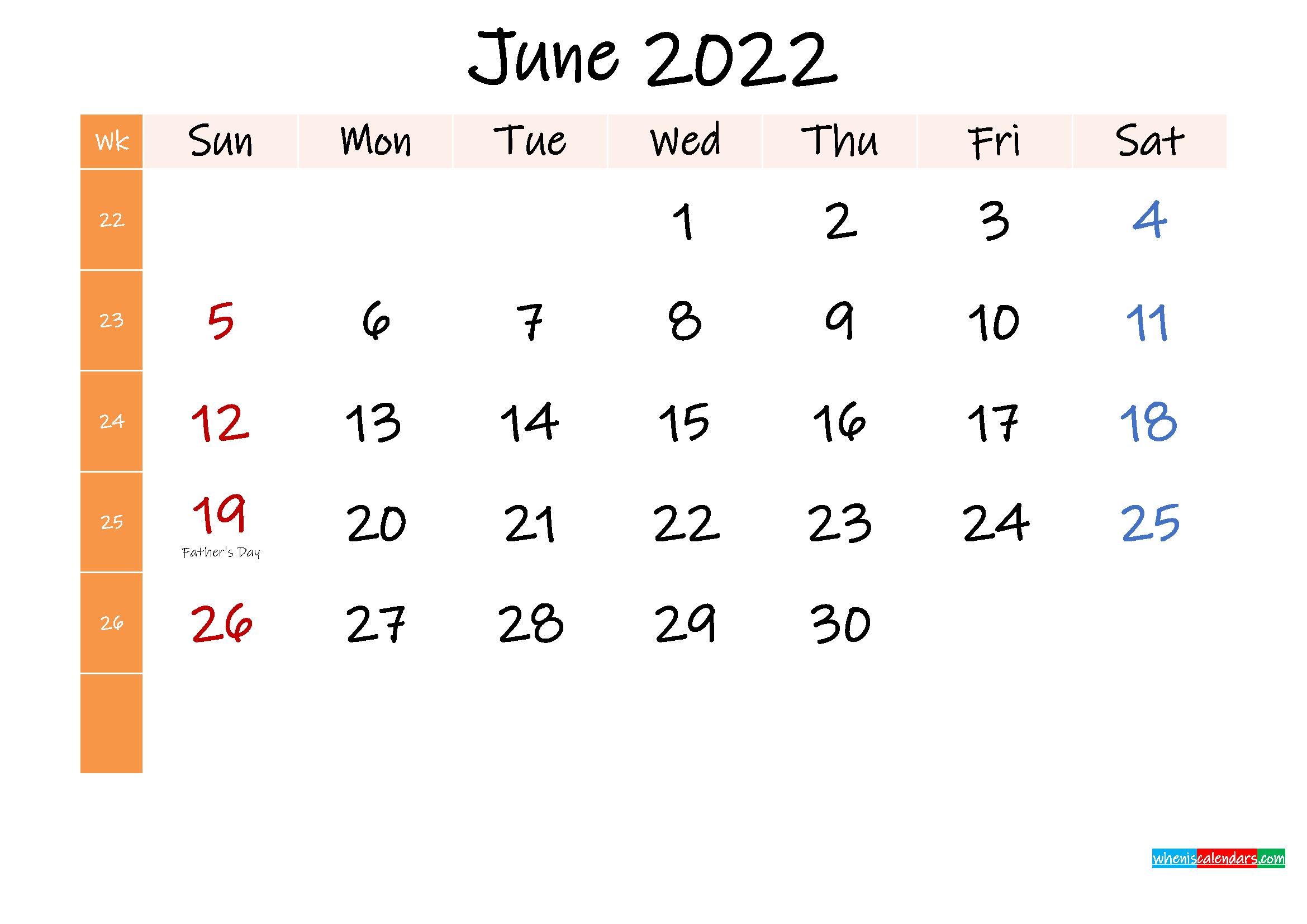 Free June 2022 Monthly Calendar Template Word