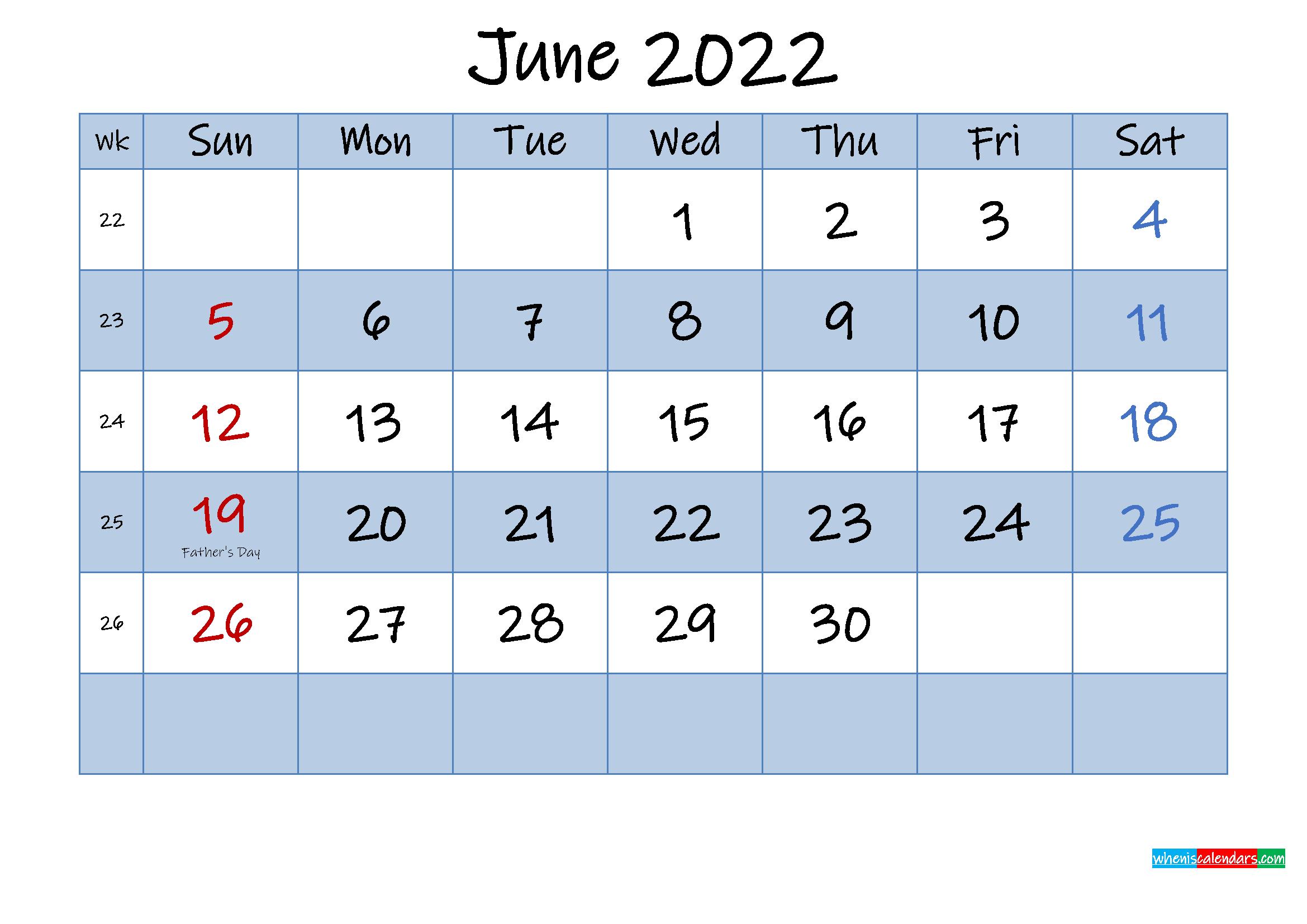 Free June 2022 Monthly Calendar PDF