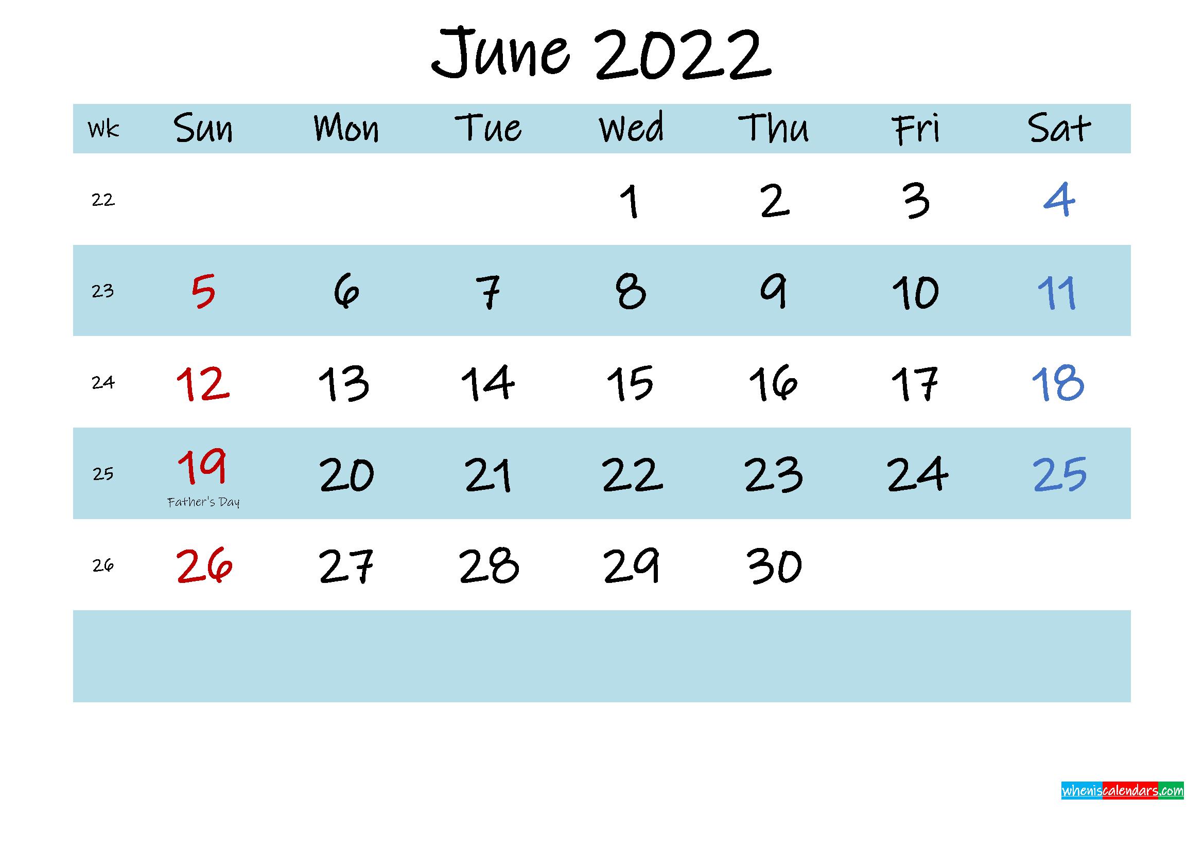 Printable June 2022 Calendar PDF