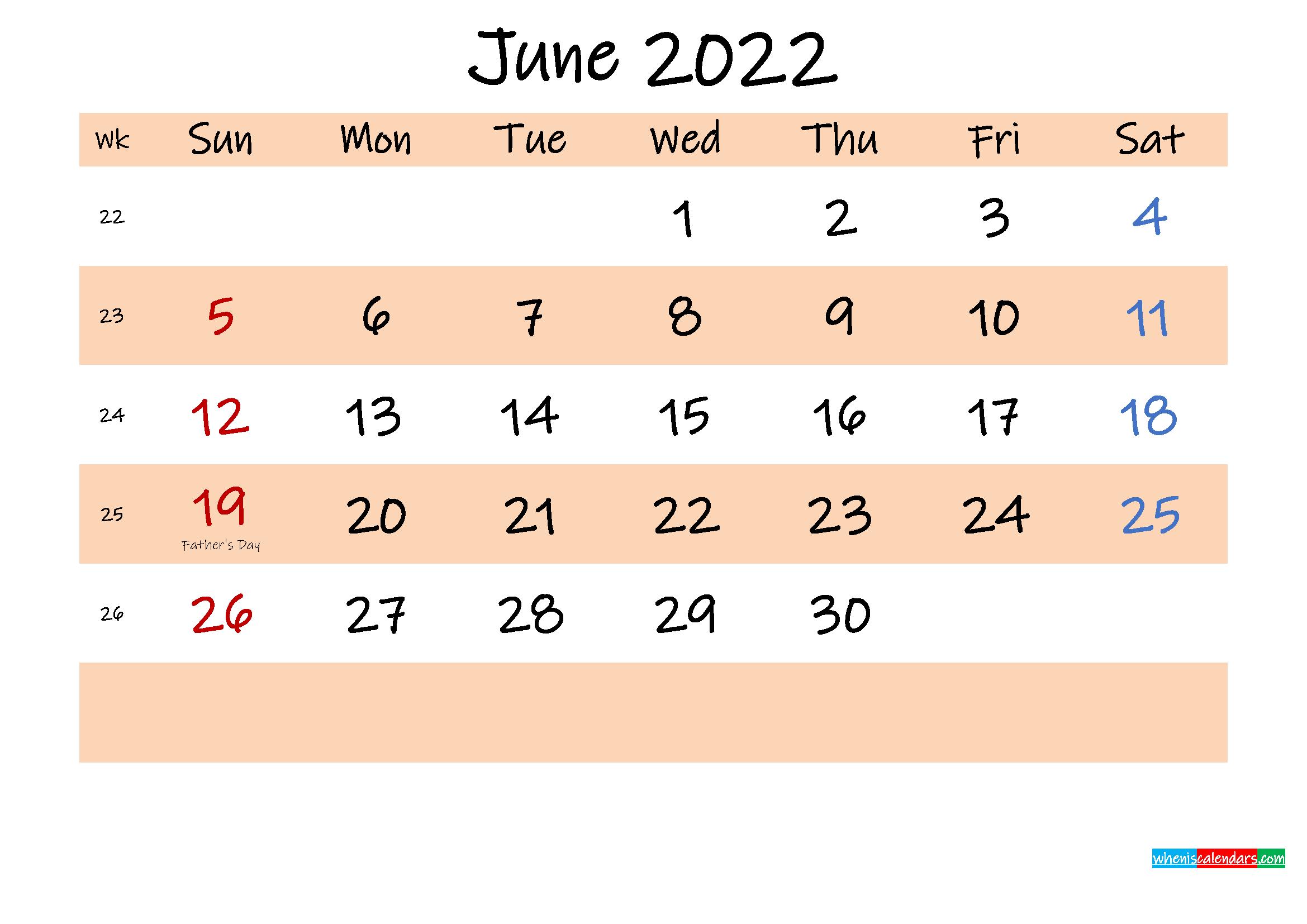 Printable Calendar June 2022